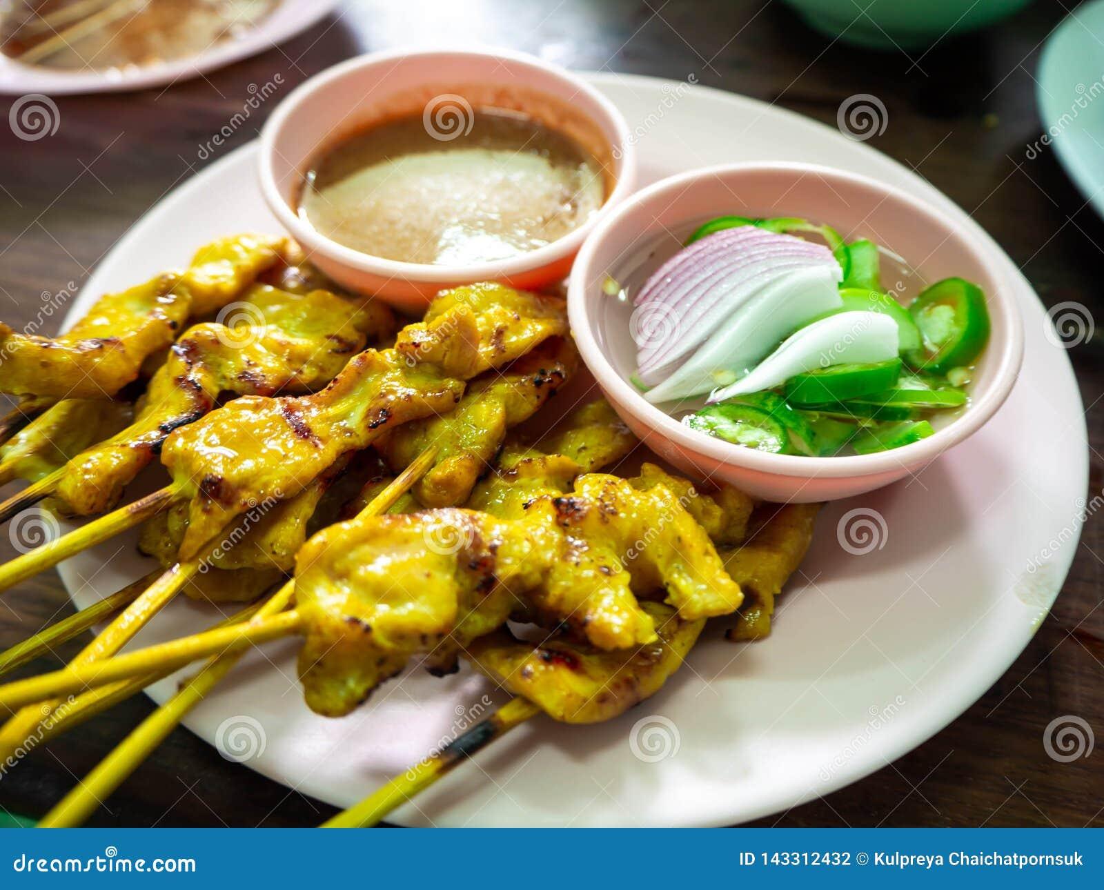 Pork Satay with peanut sauce, Thailand food