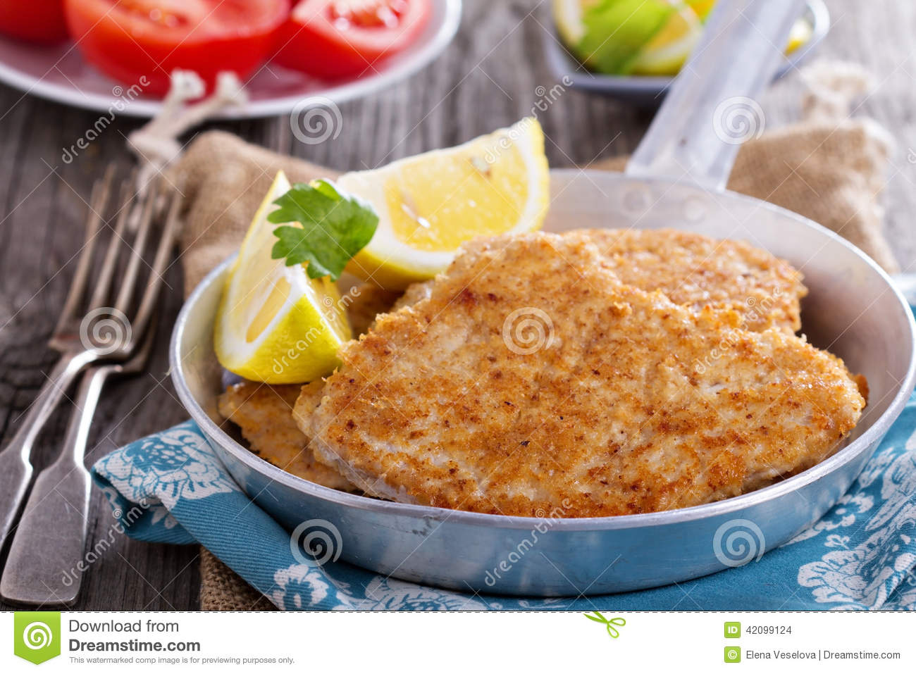 Pork Schnitzel With Parmesan Stock Photo - Image: 42099124
