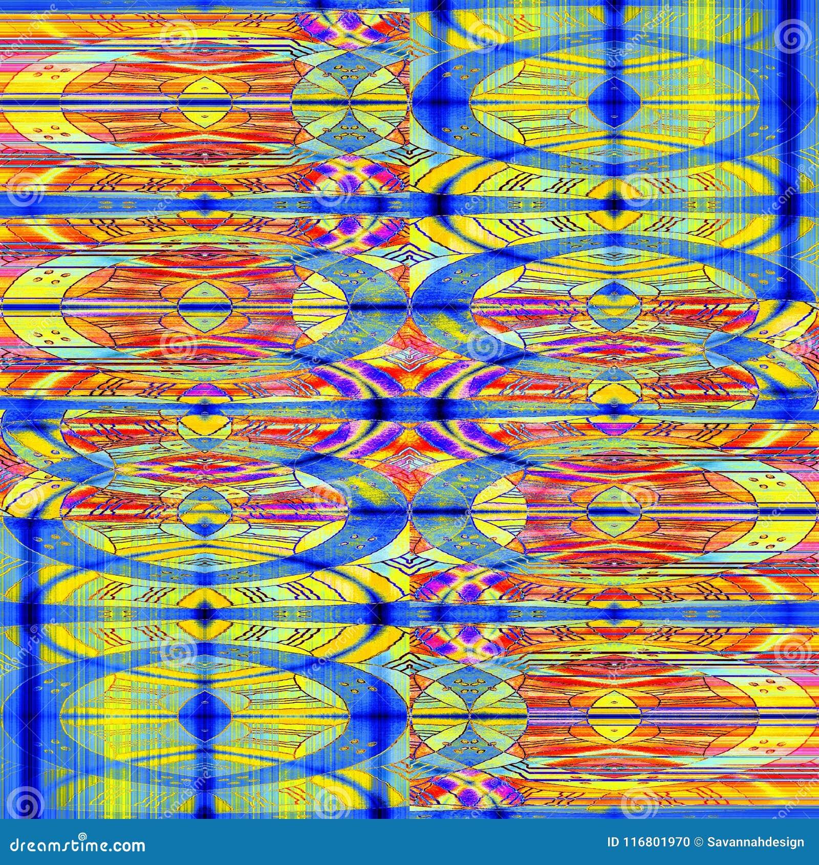 Porpora blu di giallo arancio del modello ovale complesso regolare spostata
