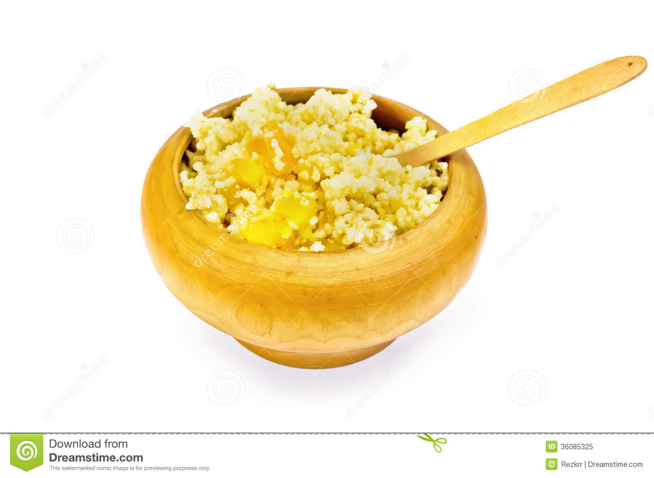 Porridge Millet With Pumpkin In A Wooden Bowl With Spoon Royalty Free ...