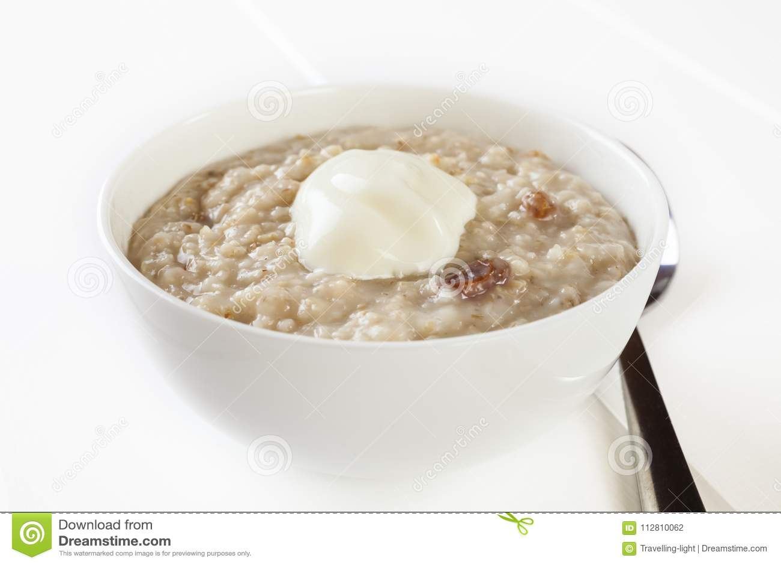Porridge With Yoghurt Low Calorie Stock Photo Image Of Food Porridge 112810062