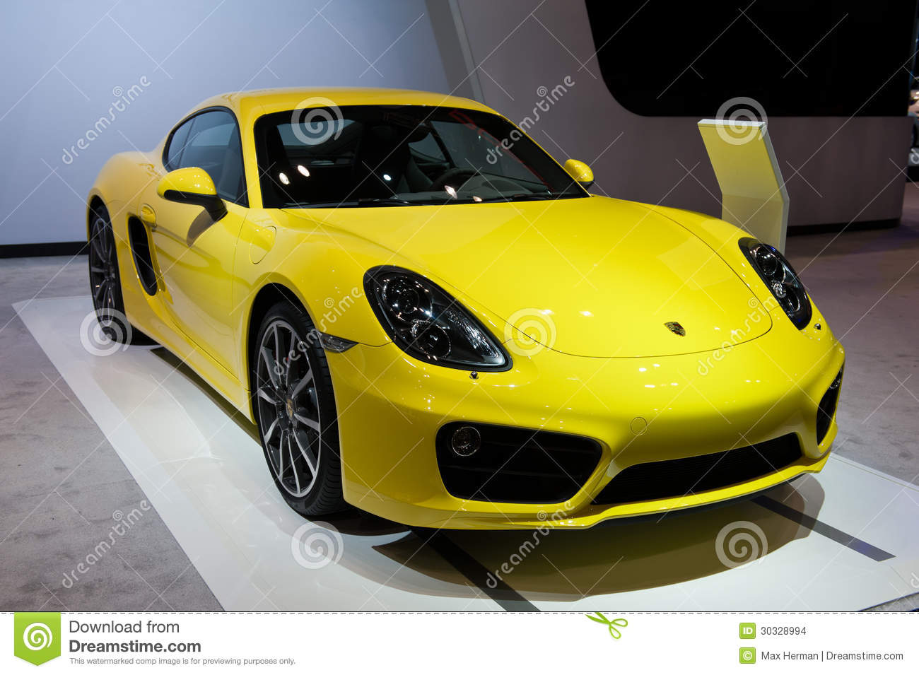 chicago auto show yellow car editorial image