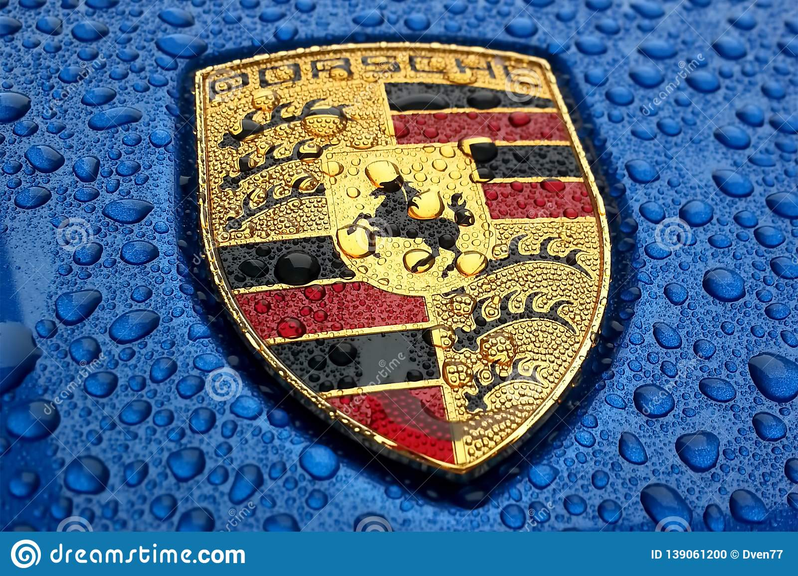 Porsche Logo Close Up On A Bright Blue Car With Rain Drops Editorial Image Image Of German Design 139061200