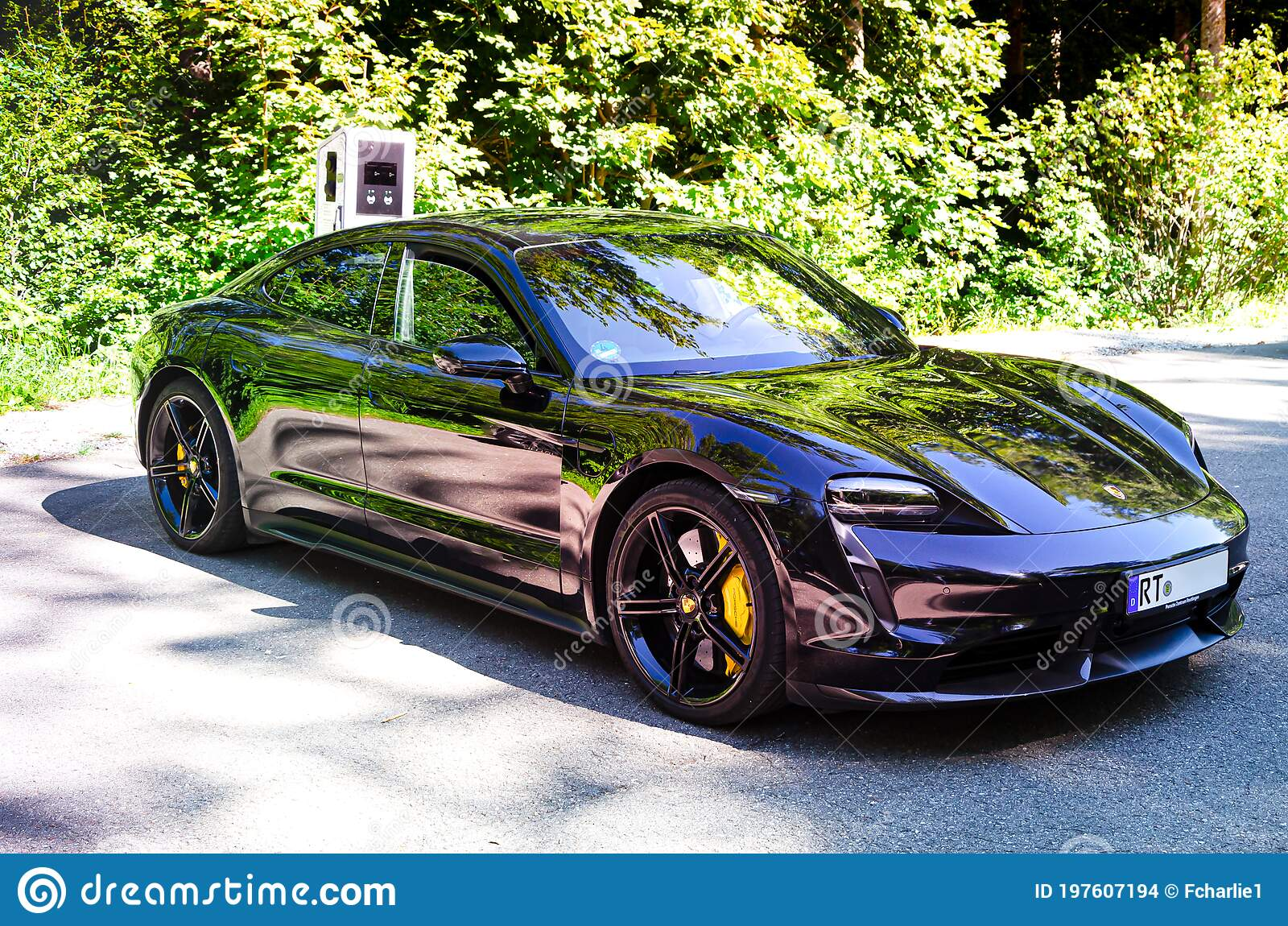 Porsche Taycan Turbo S At A Charging Station In The Forest Editorial Stock Image Image Of Genkingen Elements 197607194