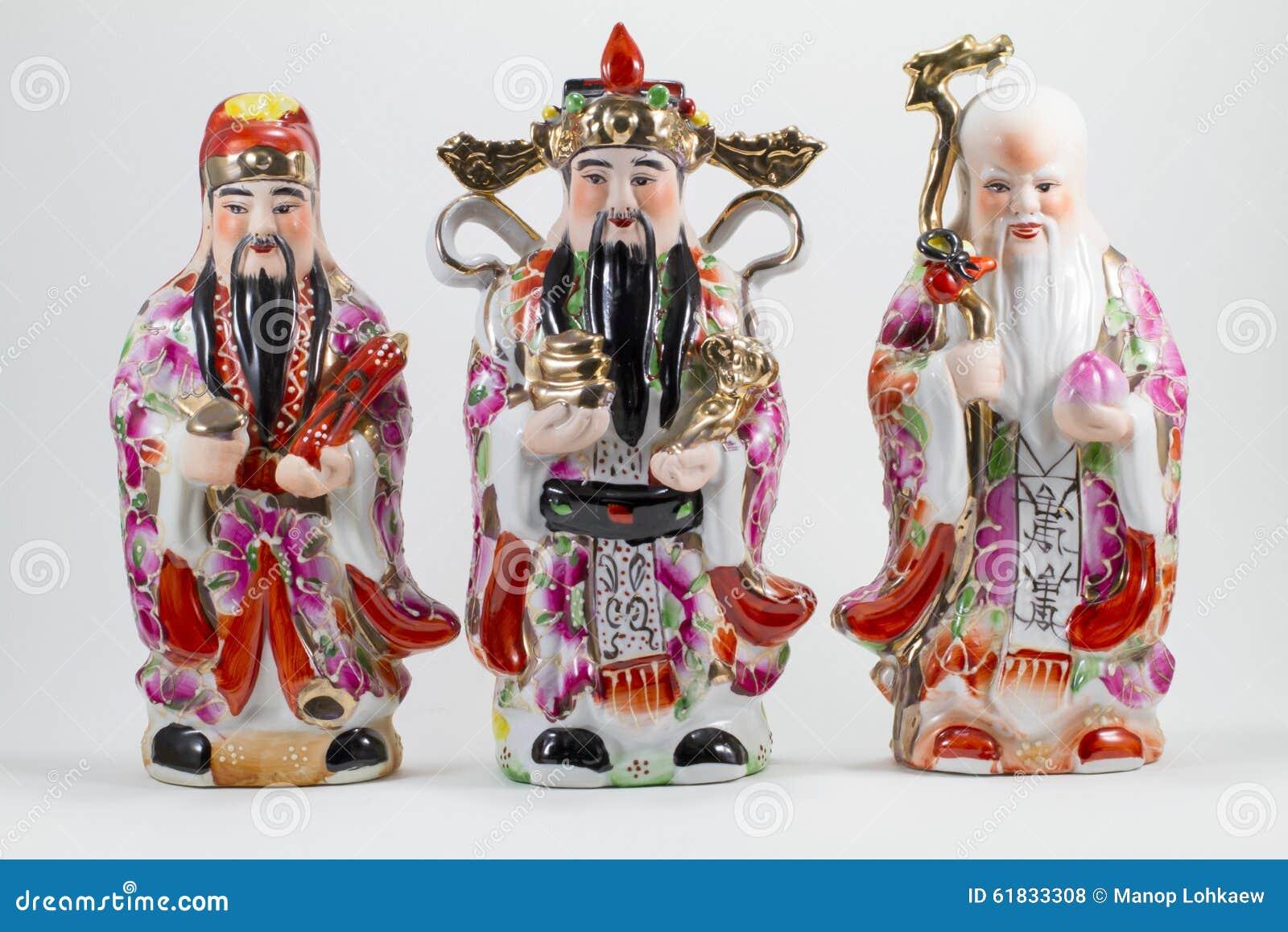 Porslin av Hock Lok Siew eller Fu Lu Shou, tre gudar av kines,