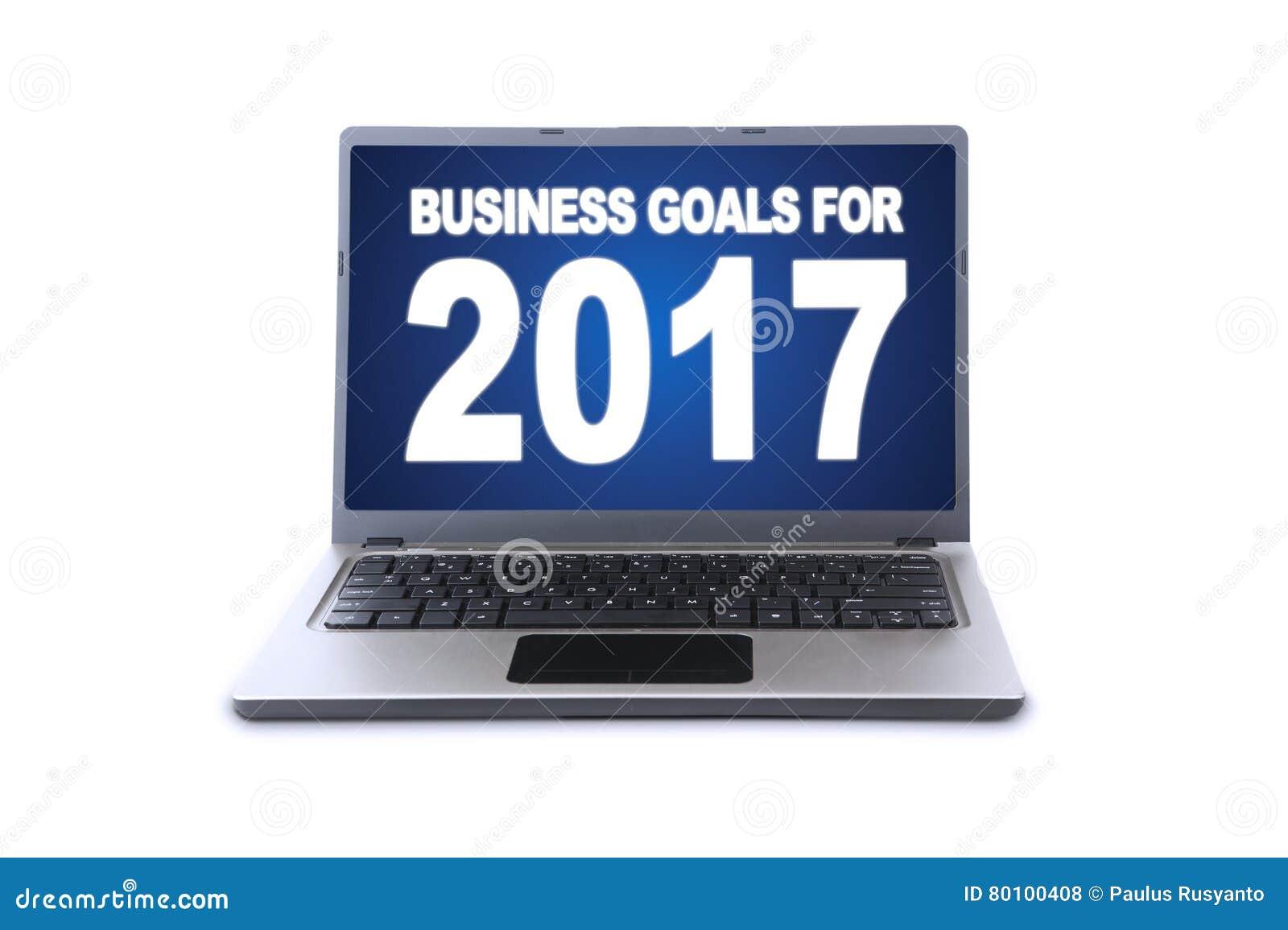 Portátil com texto dos objetivos de negócios para 2017