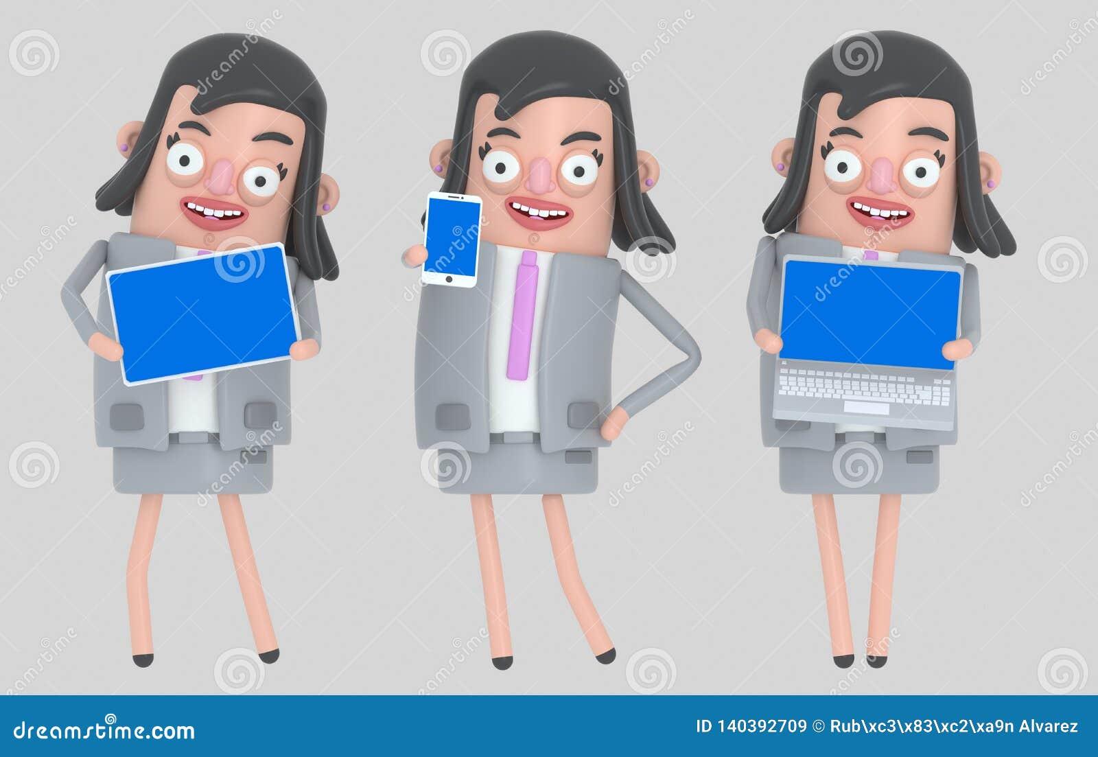 Portátil da terra arrendada da mulher de negócio, smarthone e tela azul da tabuleta Isolado