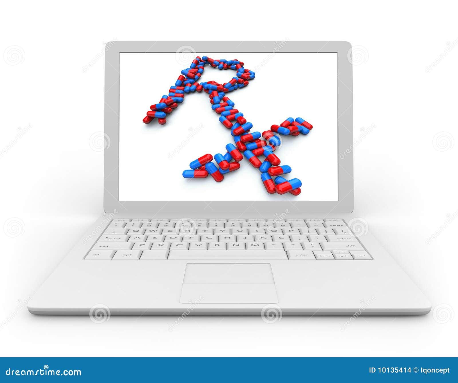 Portátil do computador - farmácia em linha