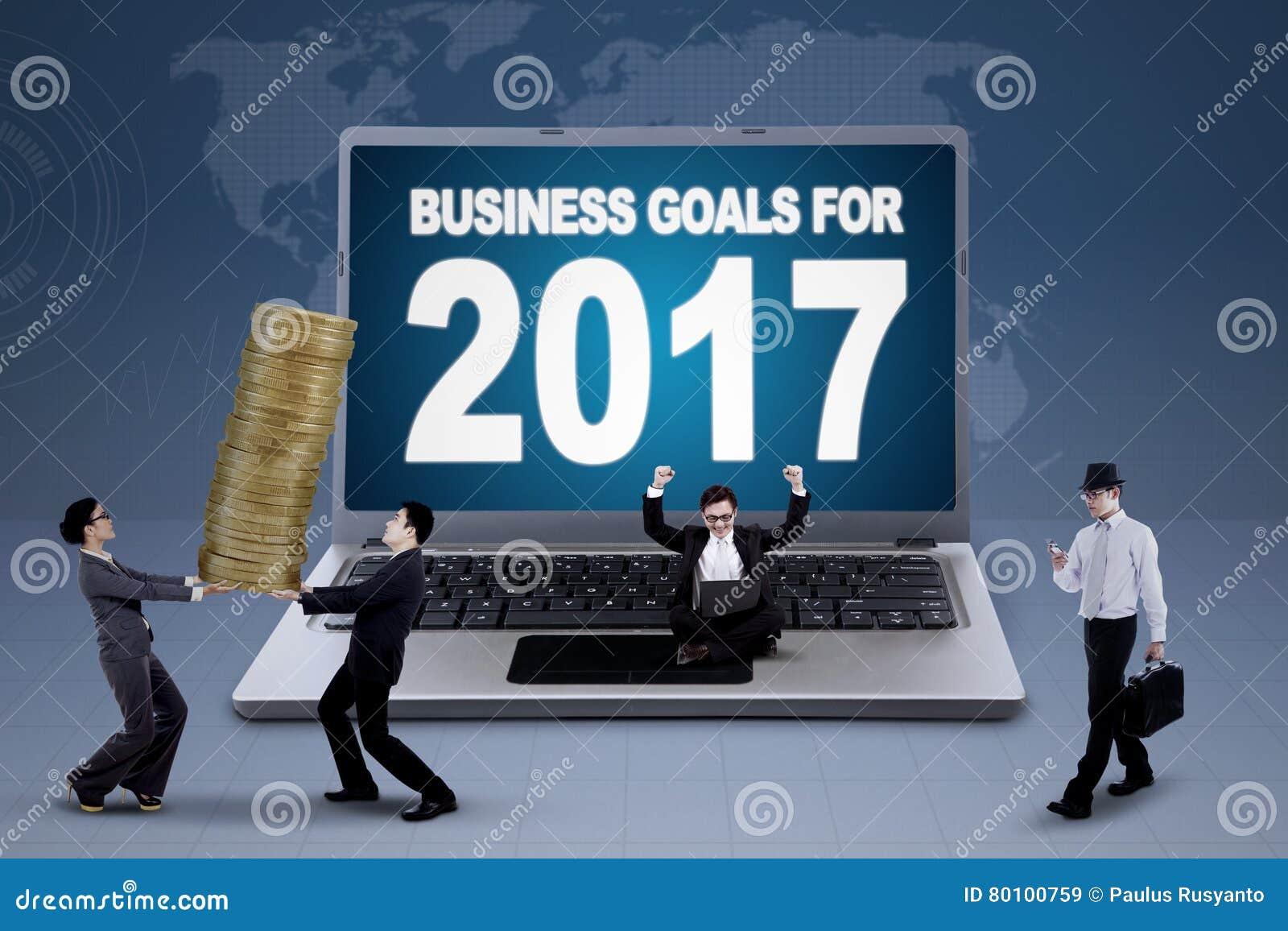 Portátil que mostra o texto dos objetivos de negócios para 2017