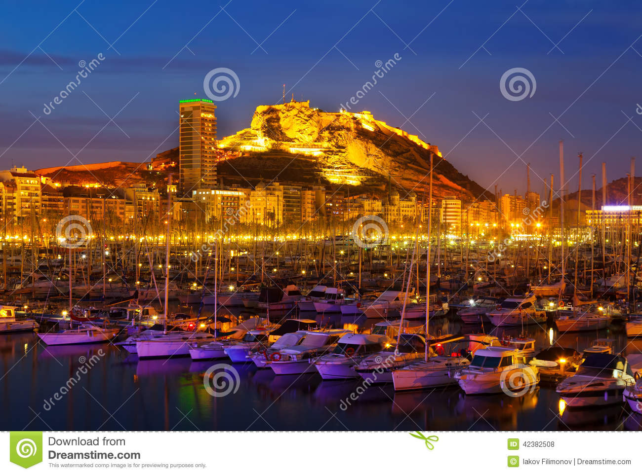 Port of alicante in night stock photo image 42382508 - Stock uno alicante ...