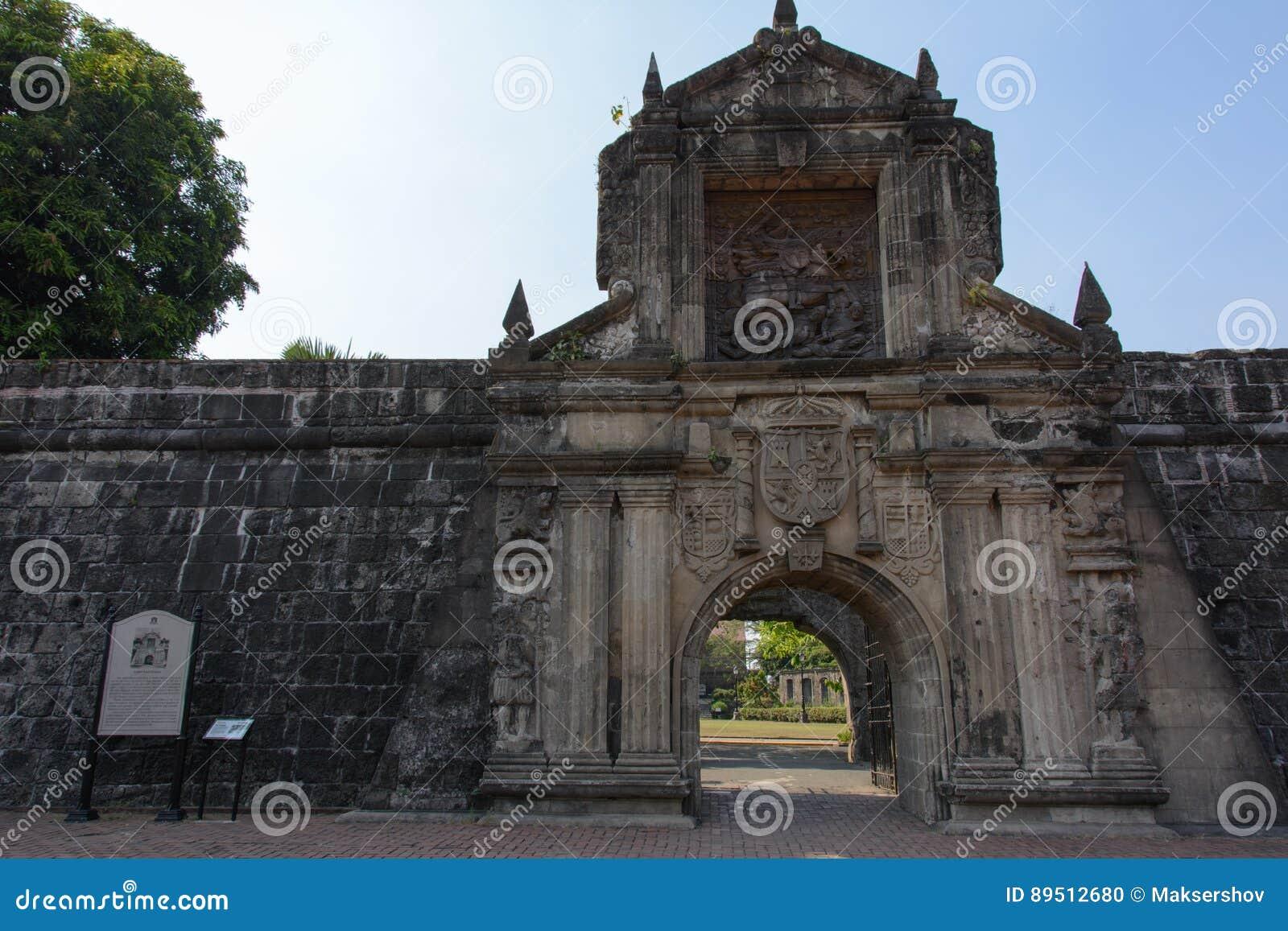 Port av fortet Santiago Intramuros Manila, Filippinerna för huvudsaklig ingång