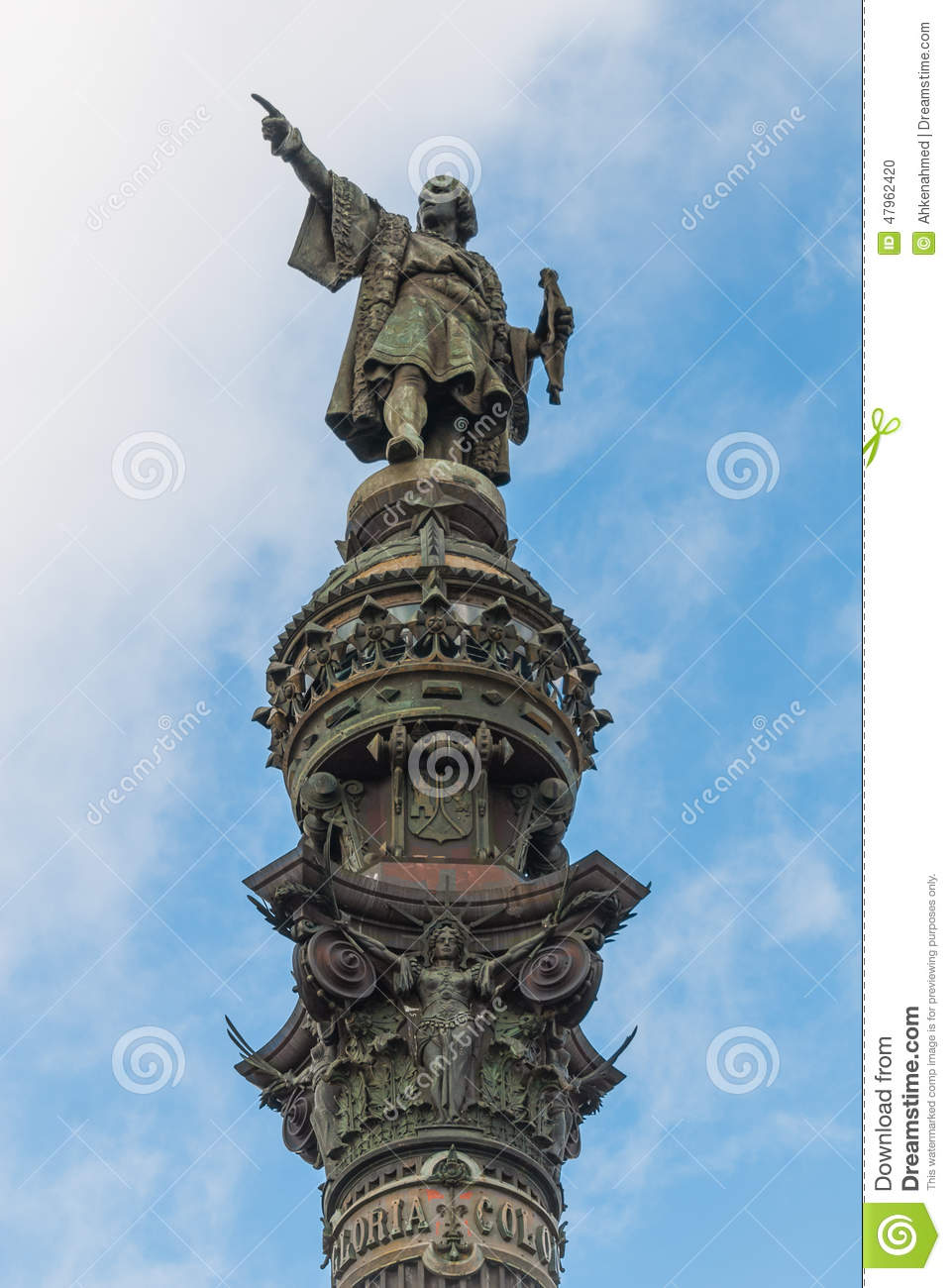 statue of marco polo in the port of barcelona stock photo. Black Bedroom Furniture Sets. Home Design Ideas