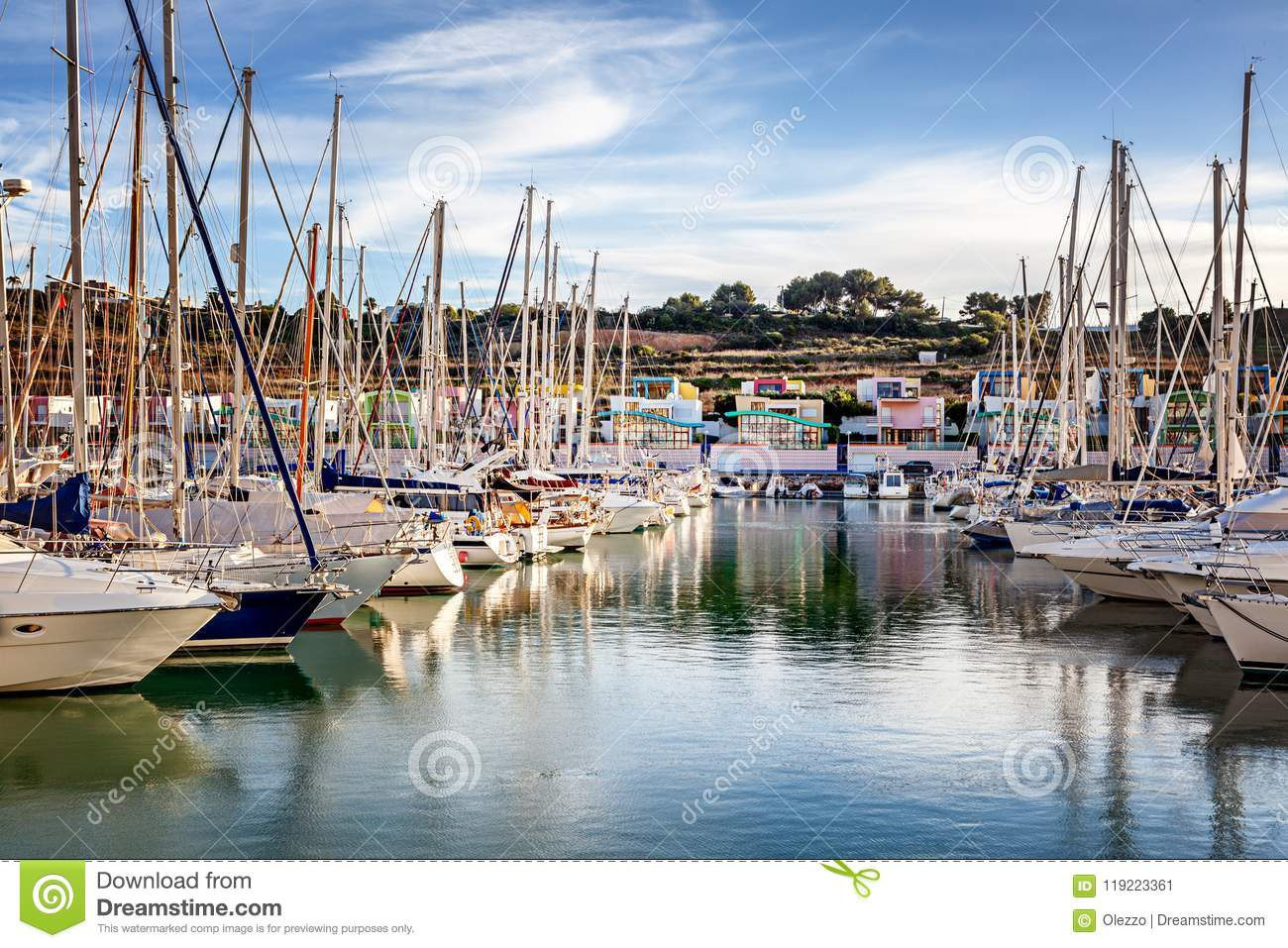 Port in the bay of Albufeira, Portugal, many boats and yachts in