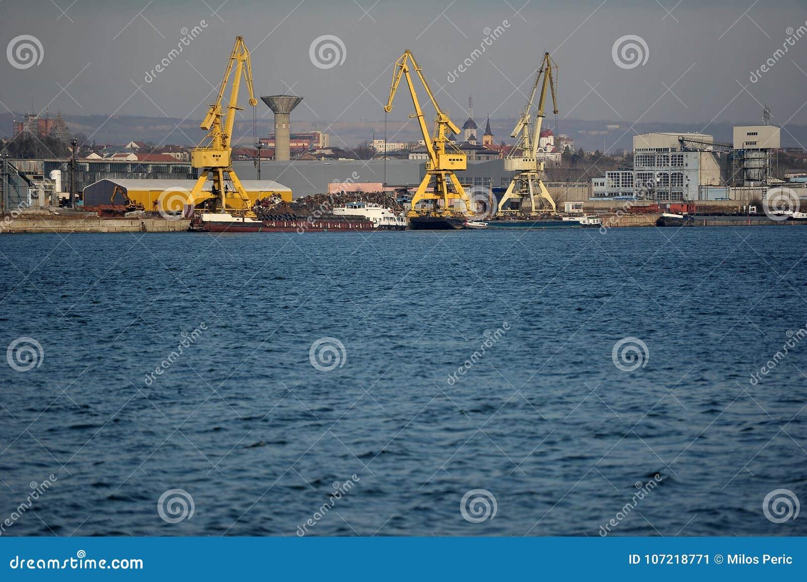 Port crane on sunny day