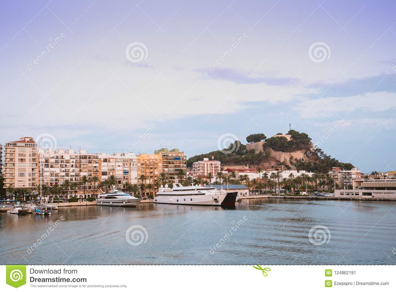 Port of Denia, castle and boats, Valencian Community, Spain