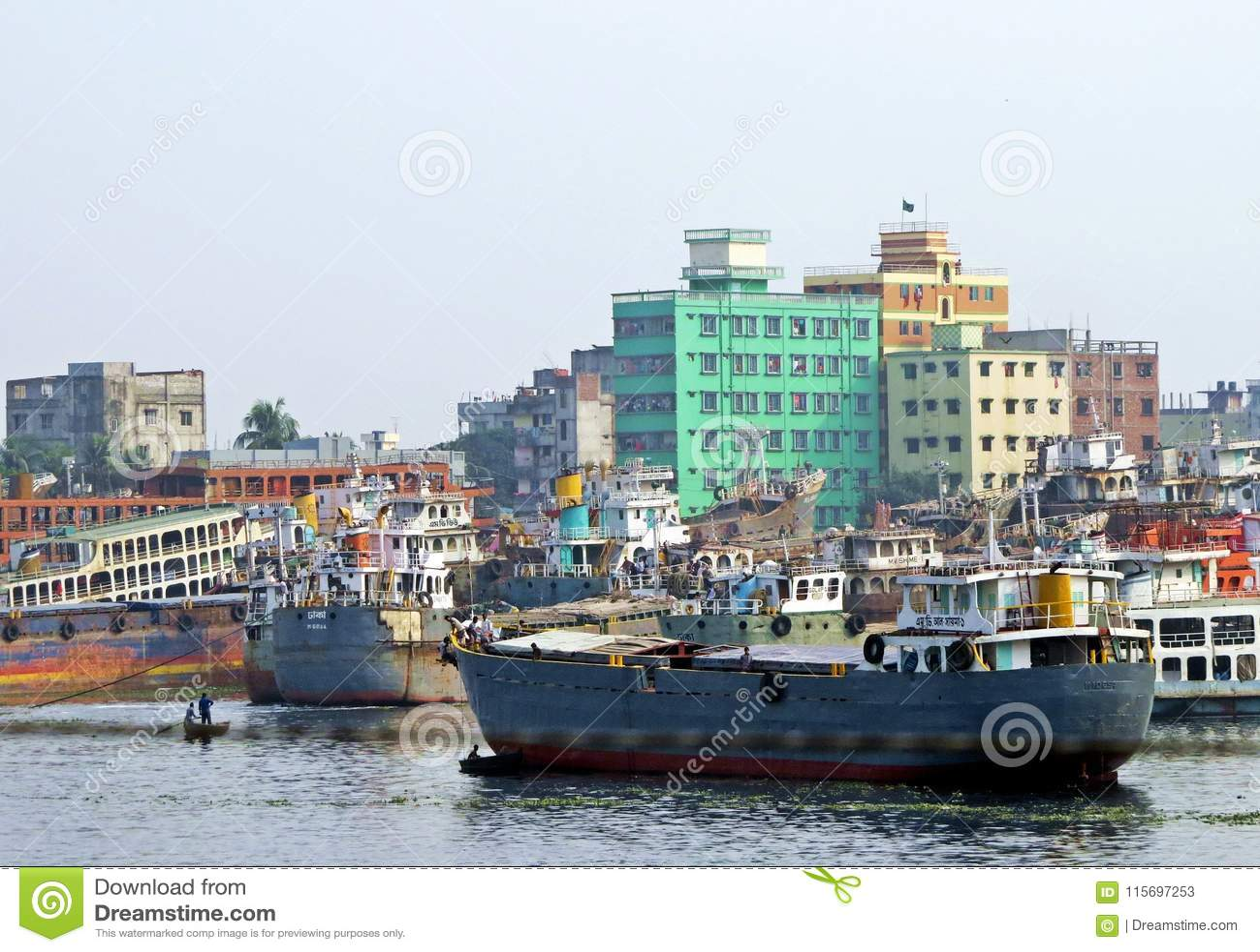 Port Dhaka, Buriganga rzeka, Dhaka, Bangladesz