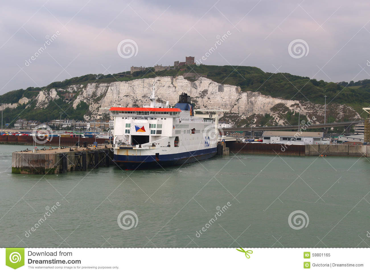 Dover United Kingdom  city images : DOVER, UNITED KINGDOM, JUNE 20, 2015: Ferry boat docked in the Port of ...
