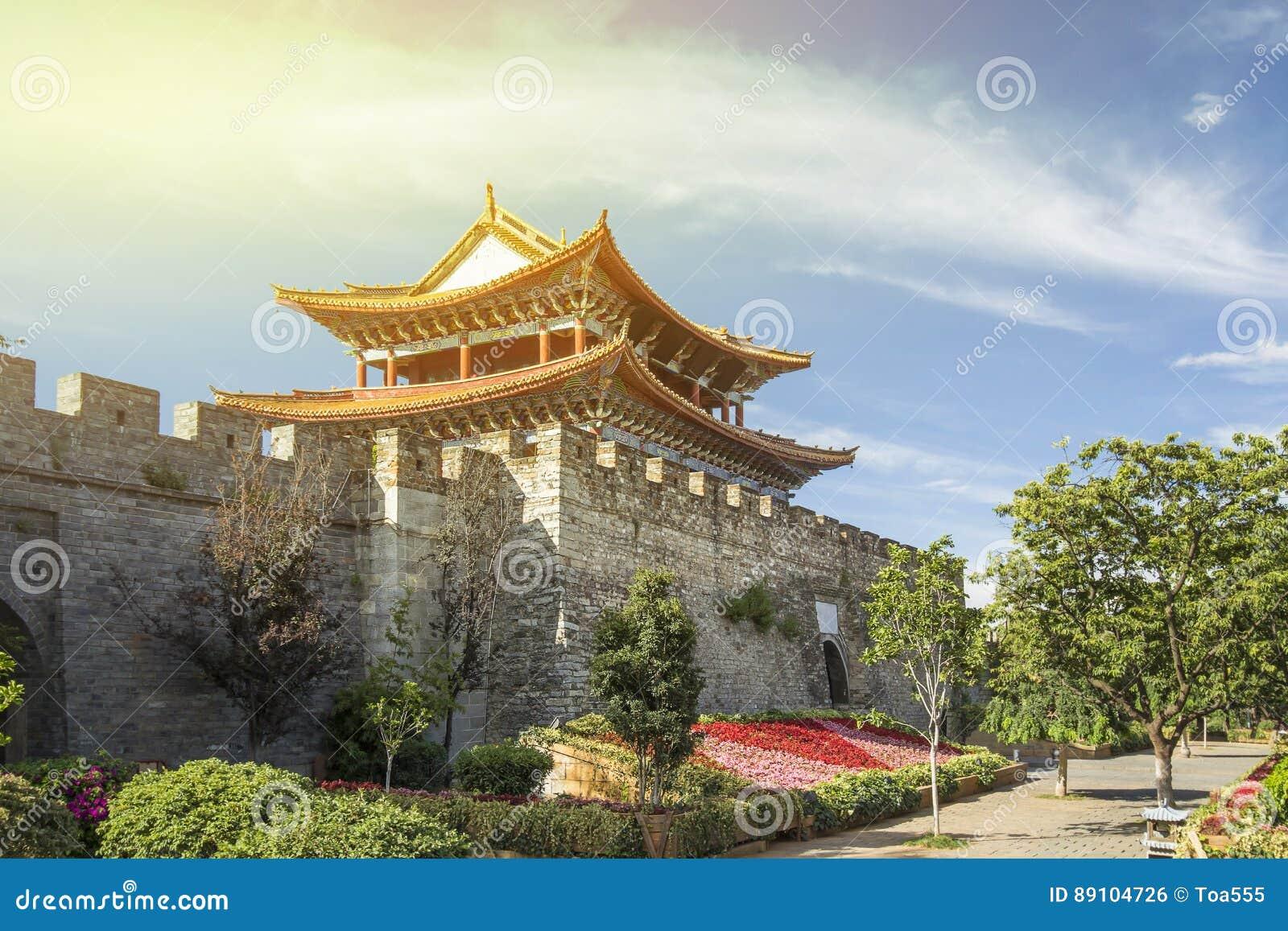 Port för forntida stad av Dali gammalt stadområde, Yunnan Kina
