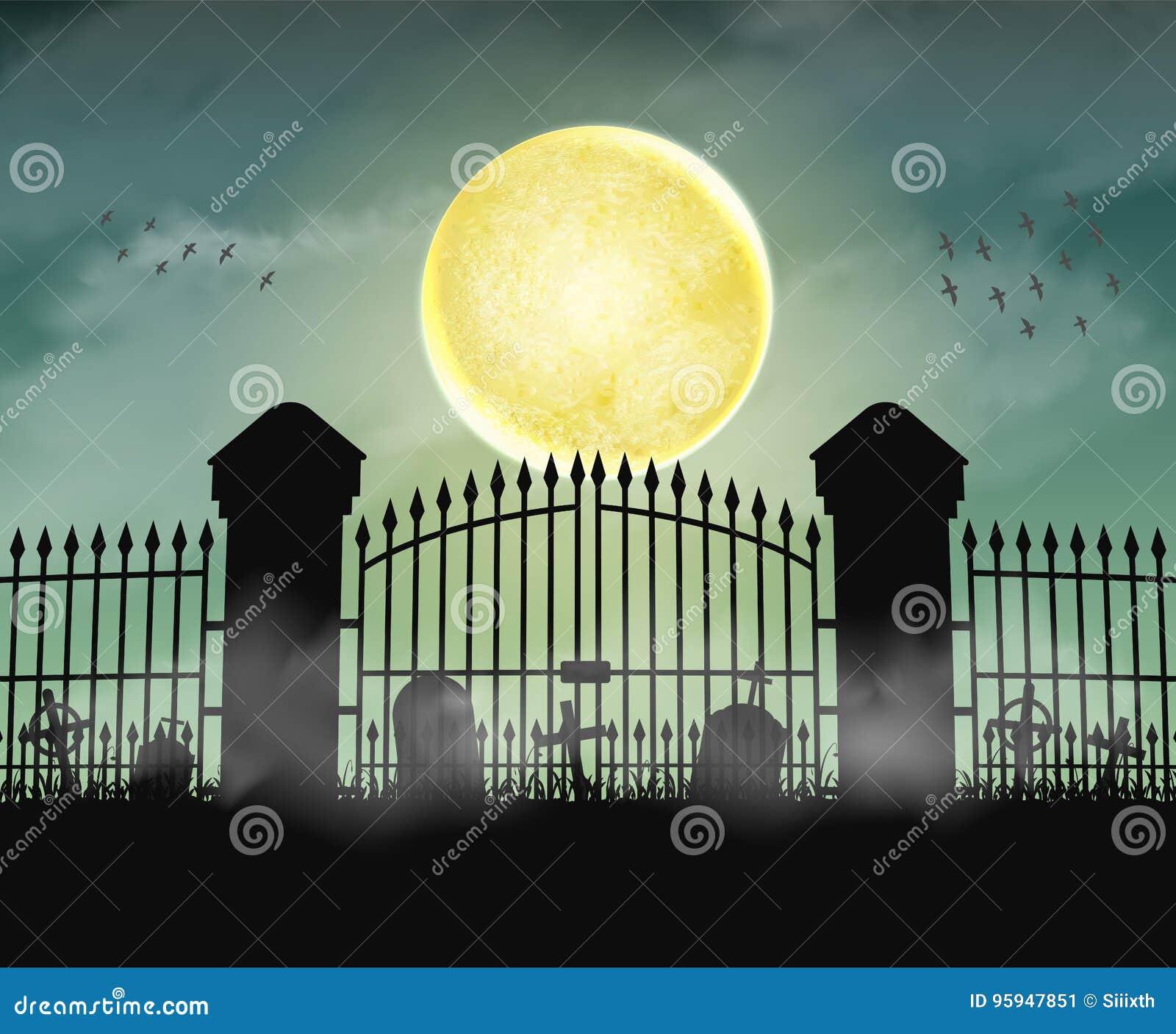 Port för konturkyrkogårdkyrkogård med månenatt