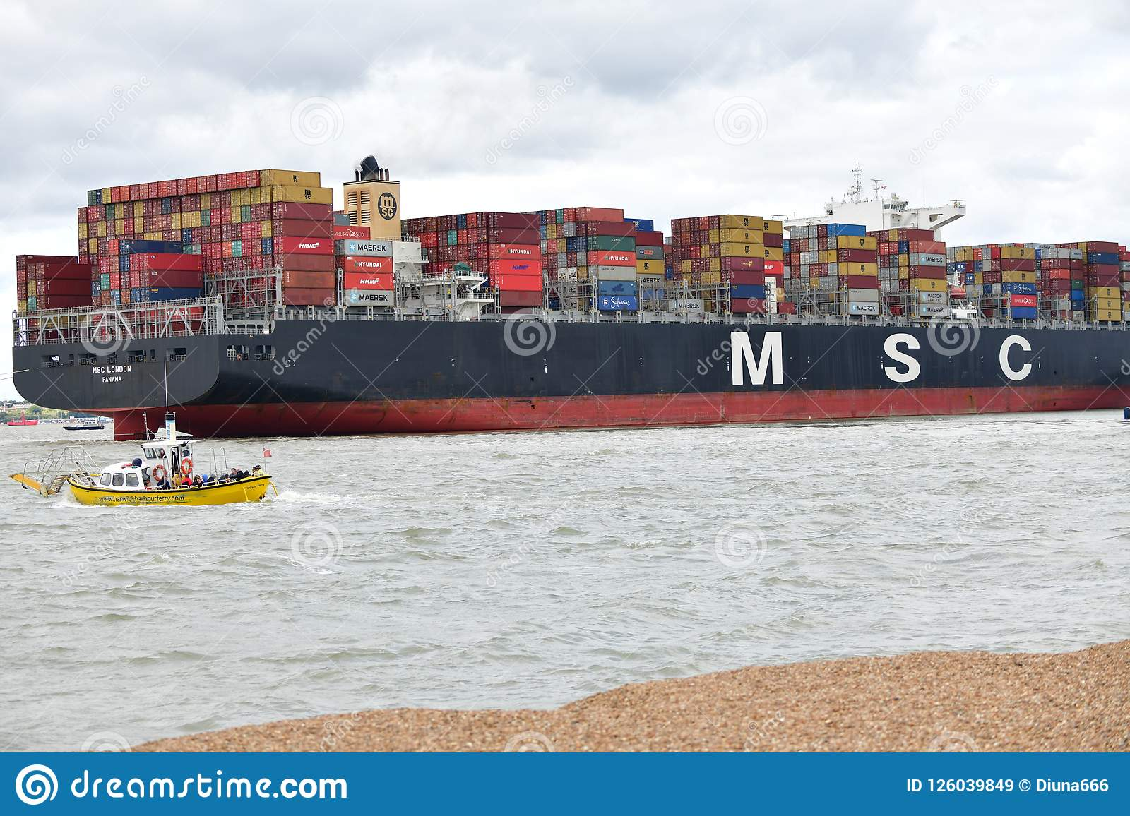Container ship flows from Felixstowe UK