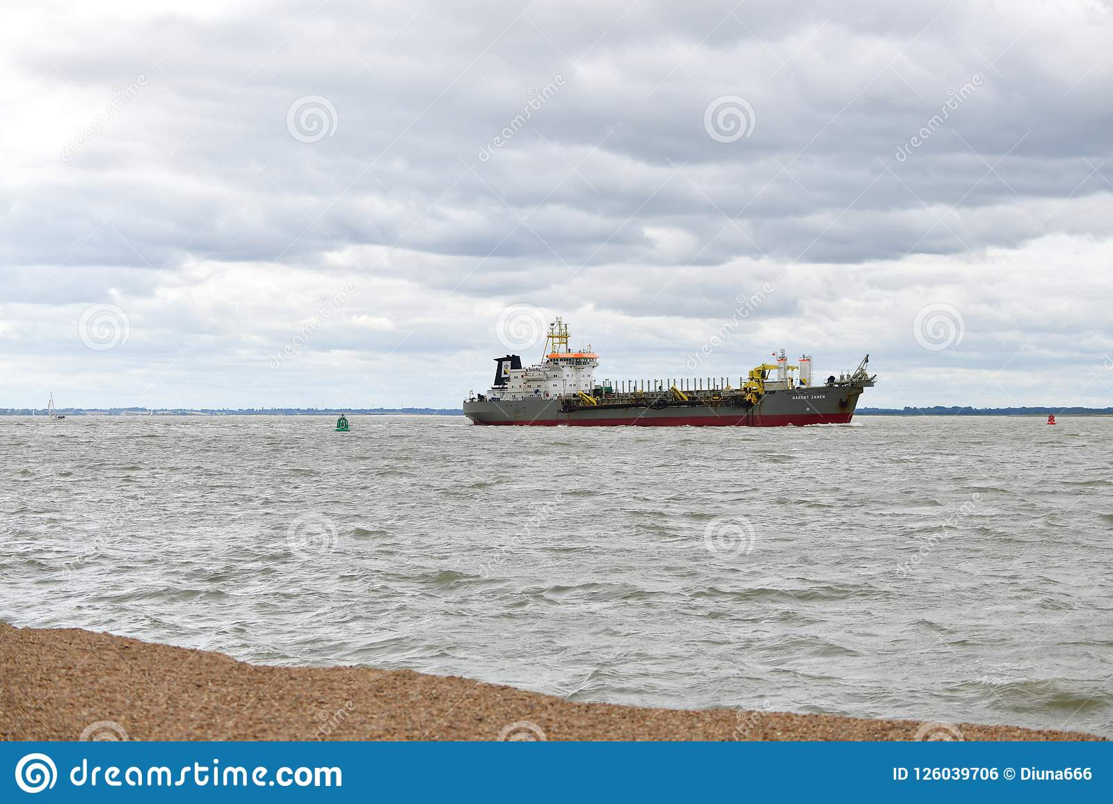 Port in Felixstowe UK, ship dredge