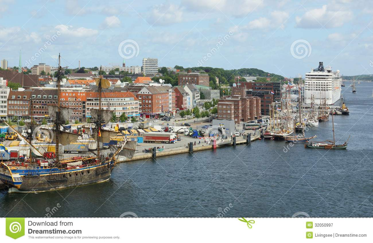 Beautiful sunny panorama of old town and harbor of Kiel - ferry MSC ...