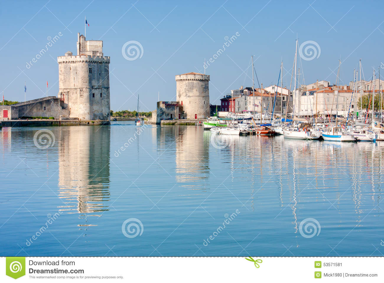 the port of la rochelle stock image image of tower rochelle 53571581. Black Bedroom Furniture Sets. Home Design Ideas