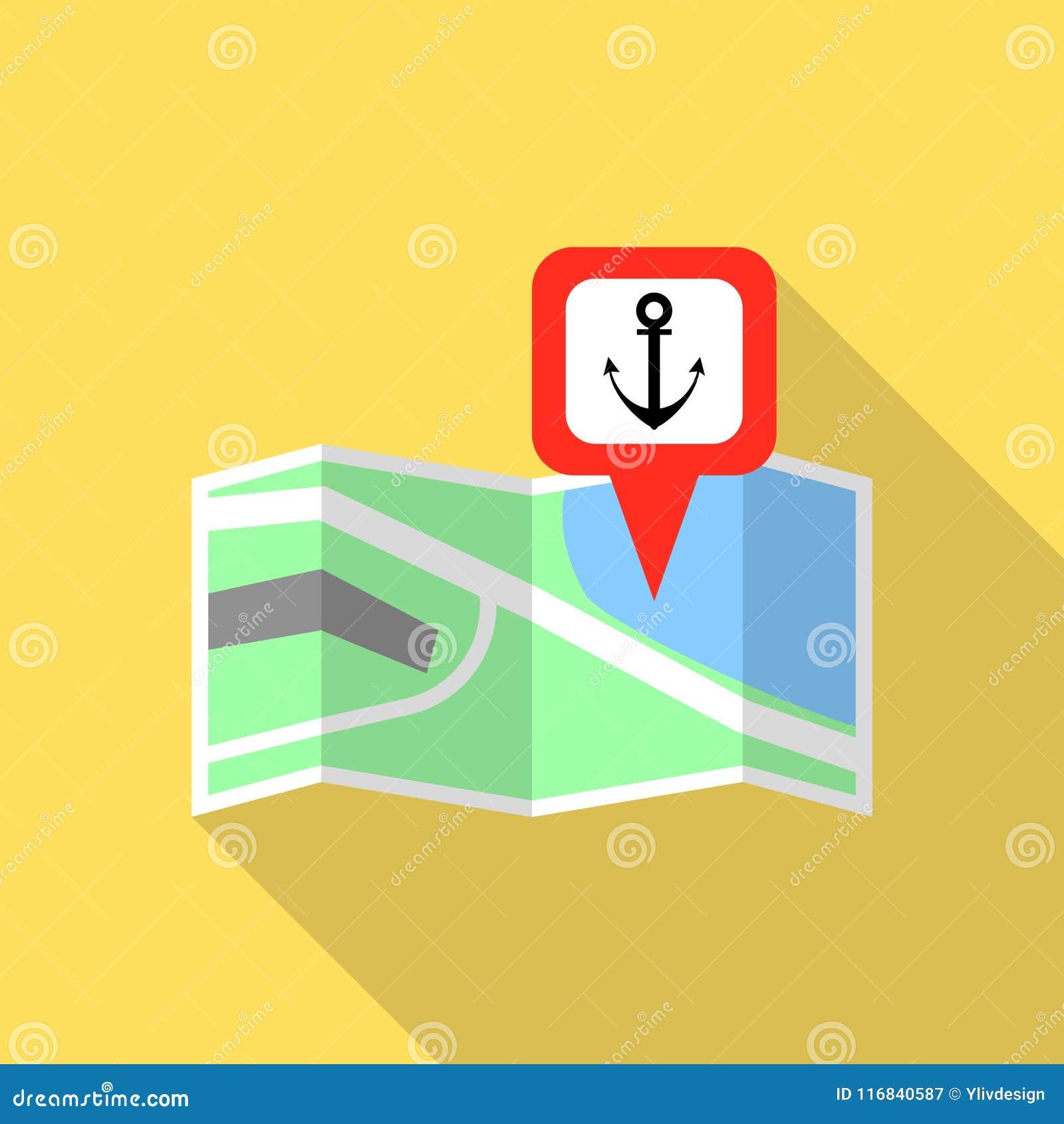 Port morski mapy szpilki ikona, mieszkanie styl