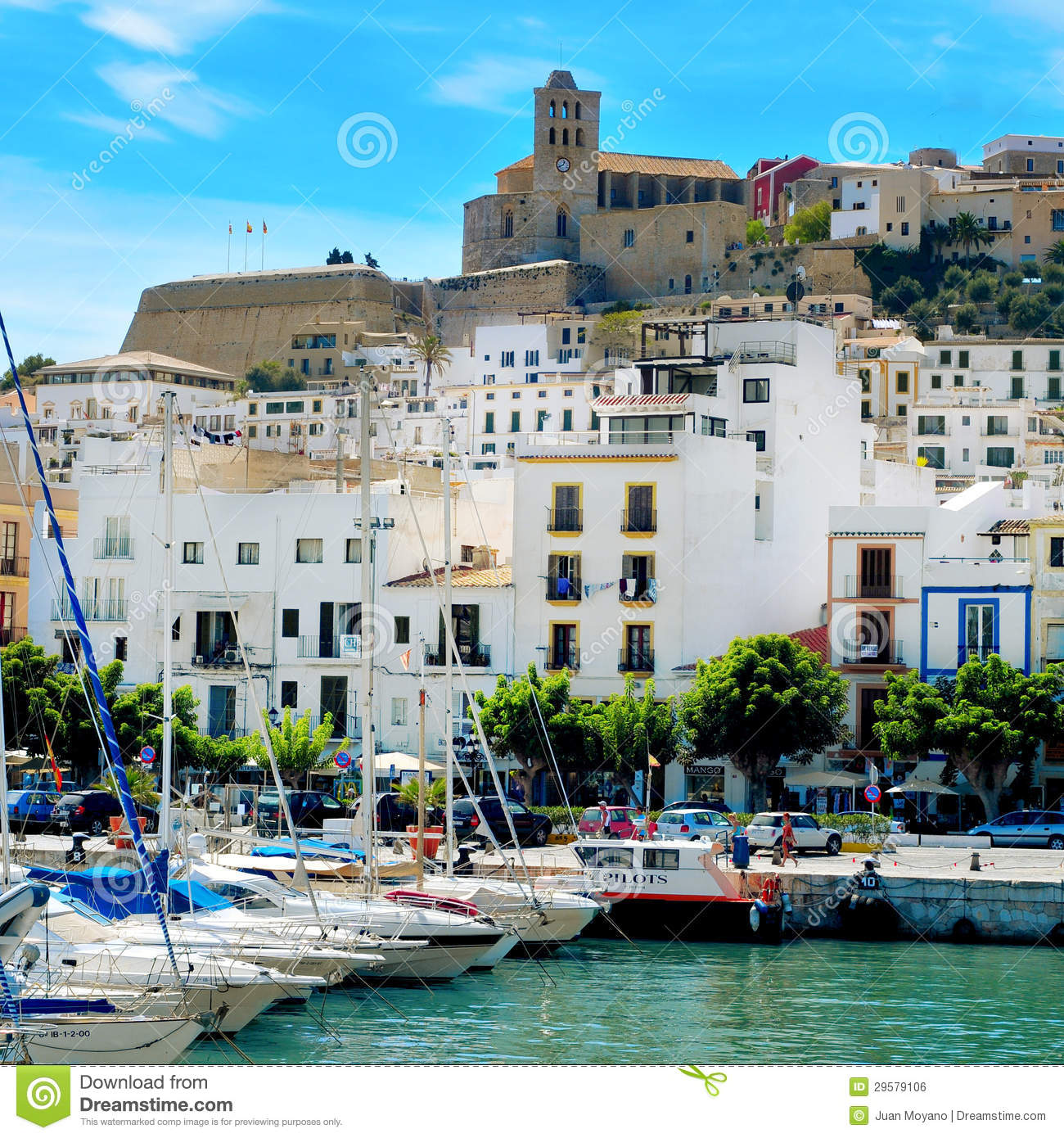 port and old town of ibiza town in ibiza balearic islands spa editorial photo image of. Black Bedroom Furniture Sets. Home Design Ideas