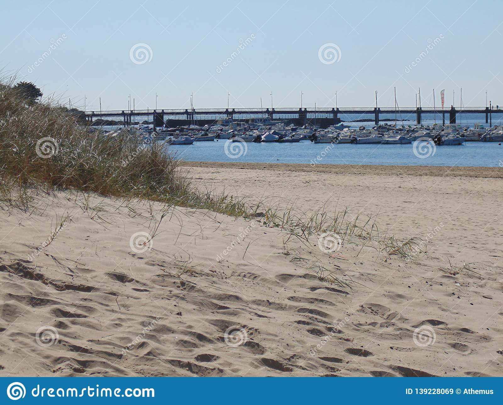 The port of Pornichet in France seen dunes of beach