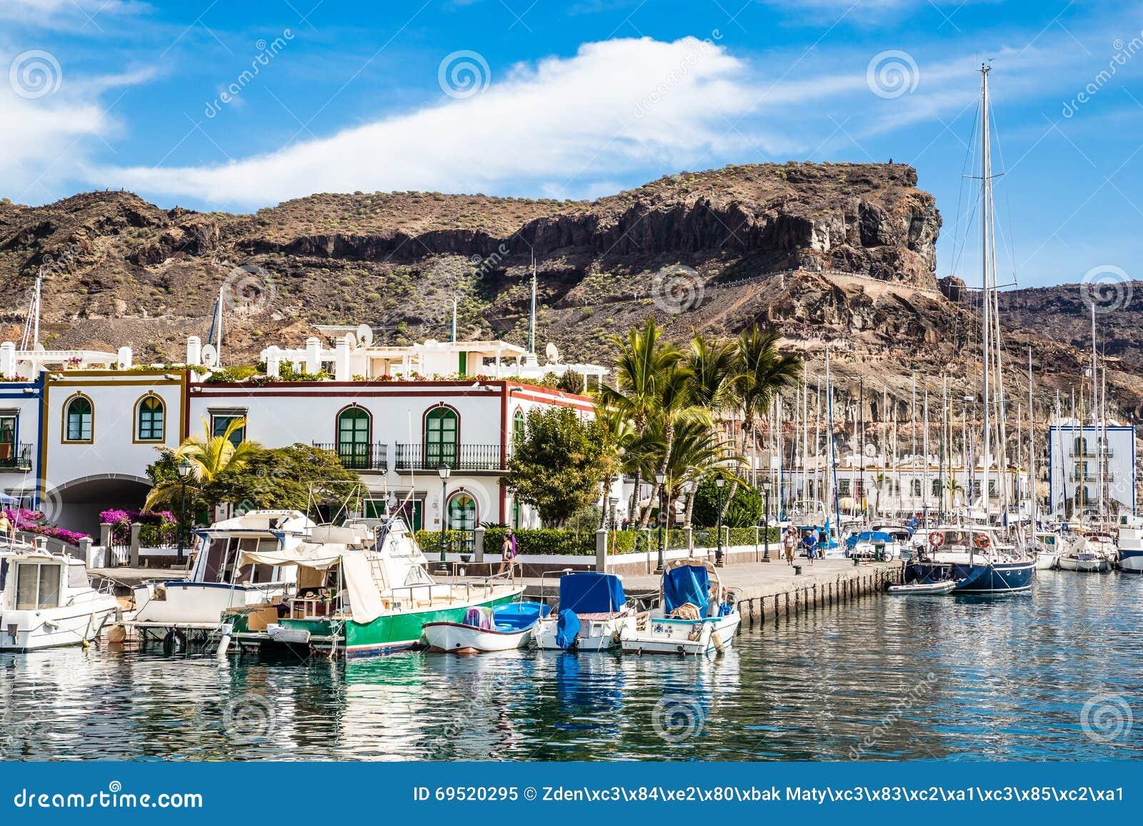 Port in puerto de mogan gran canaria spain royalty free stock image 69520282 - Puerto mogan gran canaria ...