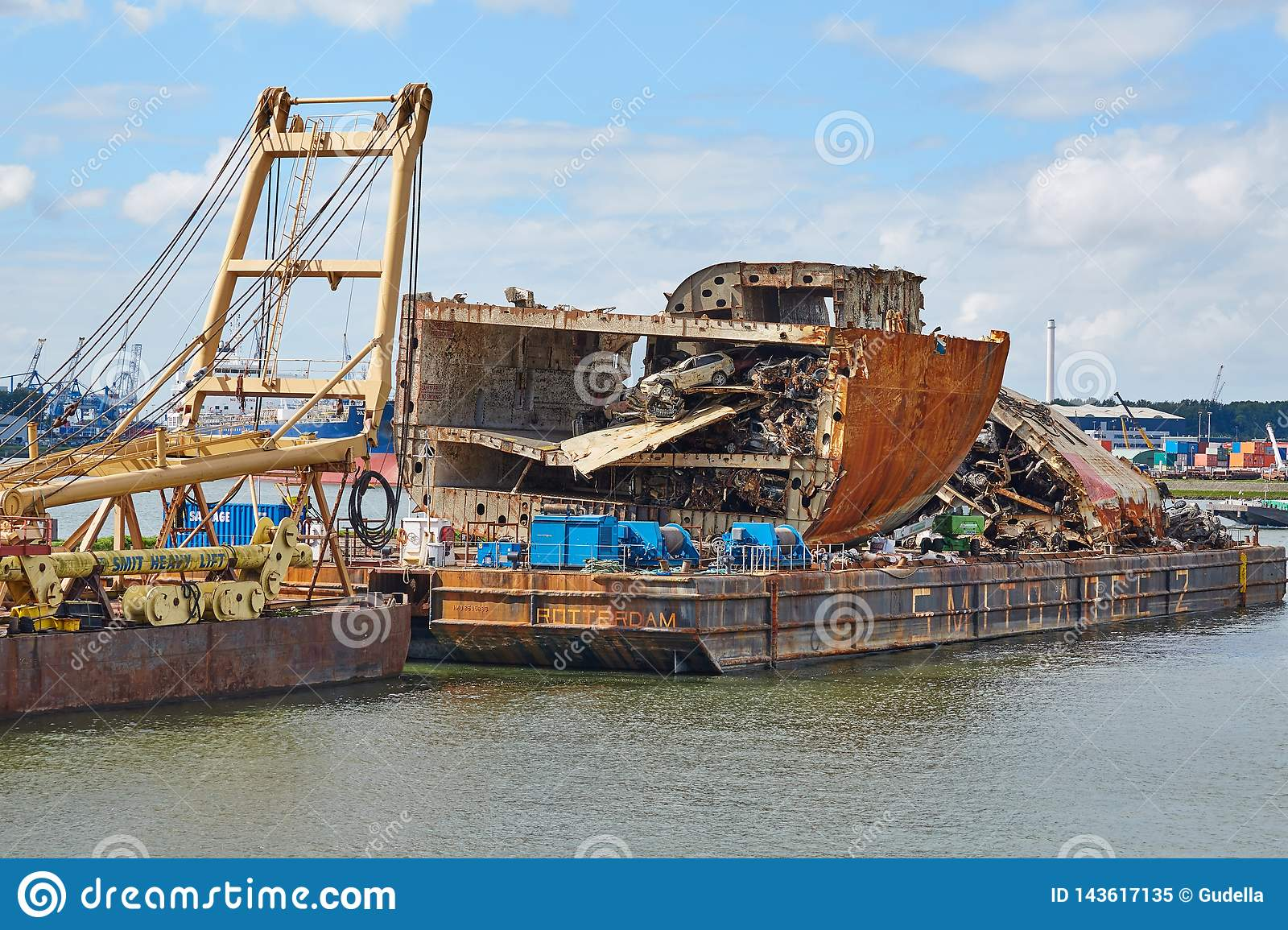 Cargo ship wreck editorial image  Image of breaking - 143617135