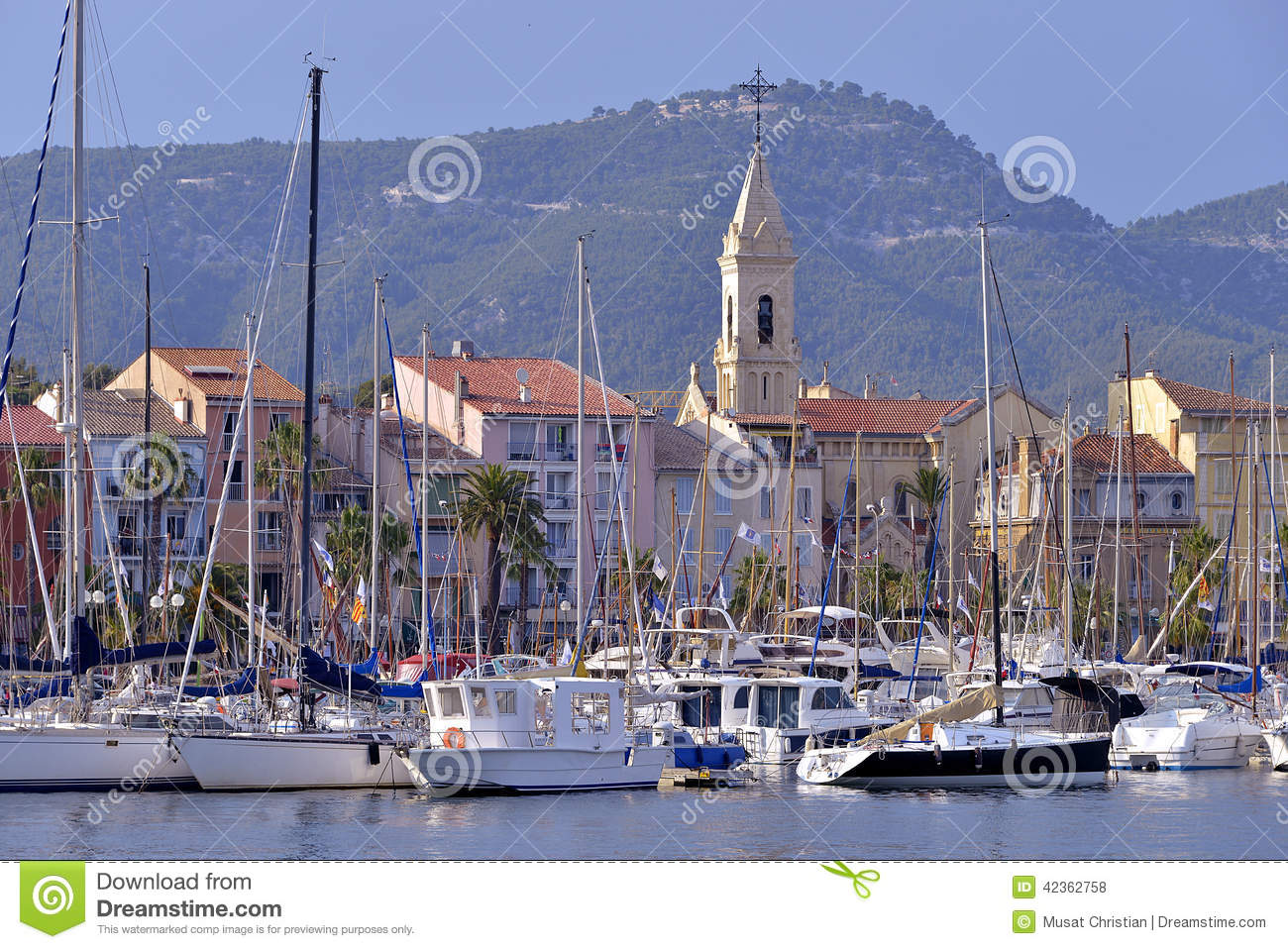 port of sanary sur mer in france stock photo image 42362758. Black Bedroom Furniture Sets. Home Design Ideas