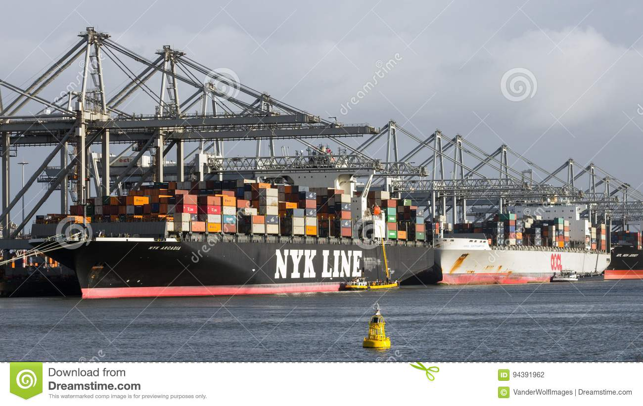 Port Ship Shipping Container Editorial Photography - Image