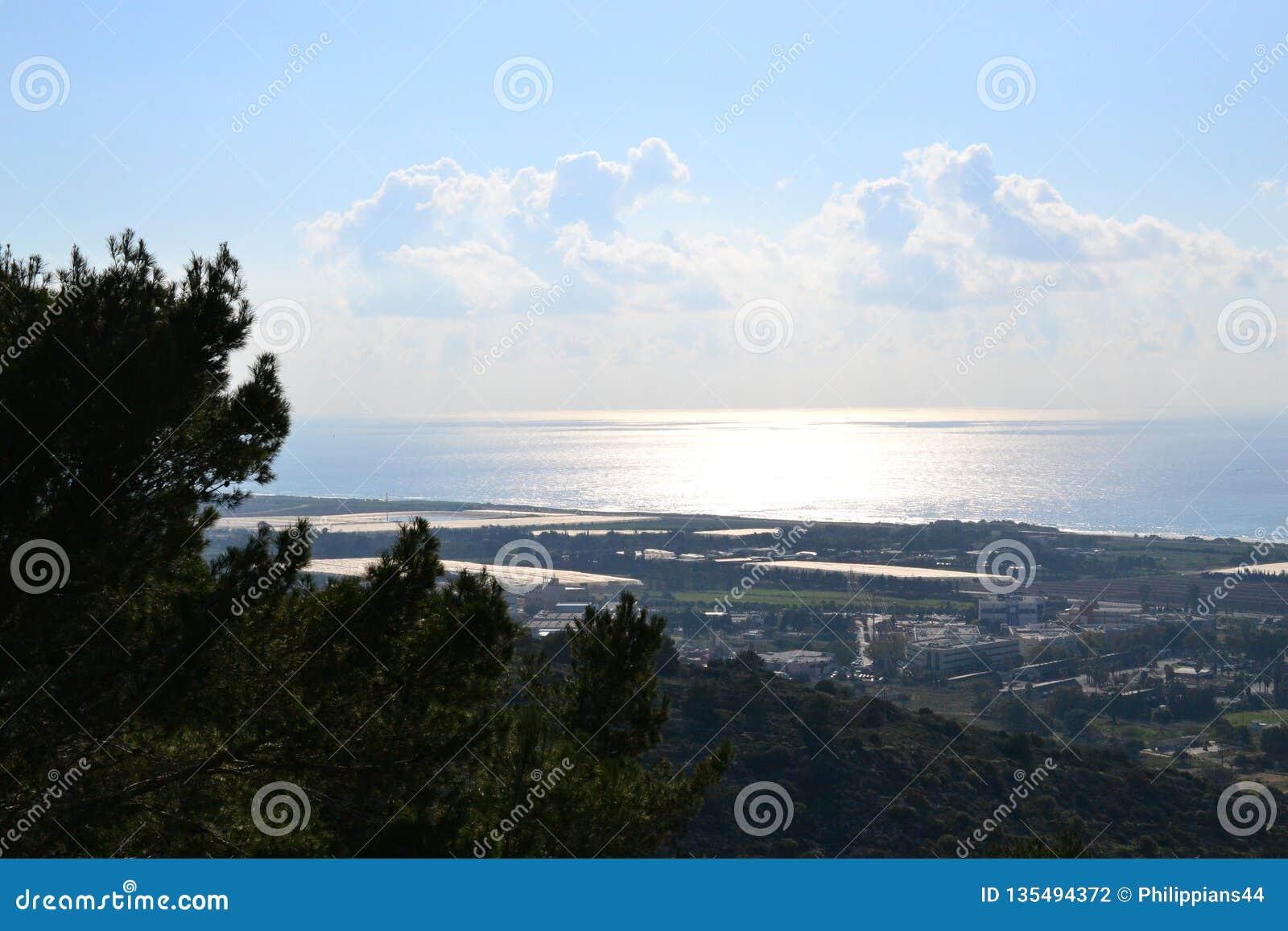 Port vue de Haïfa, mer de ville de Haïfa, le centre ville, Israël