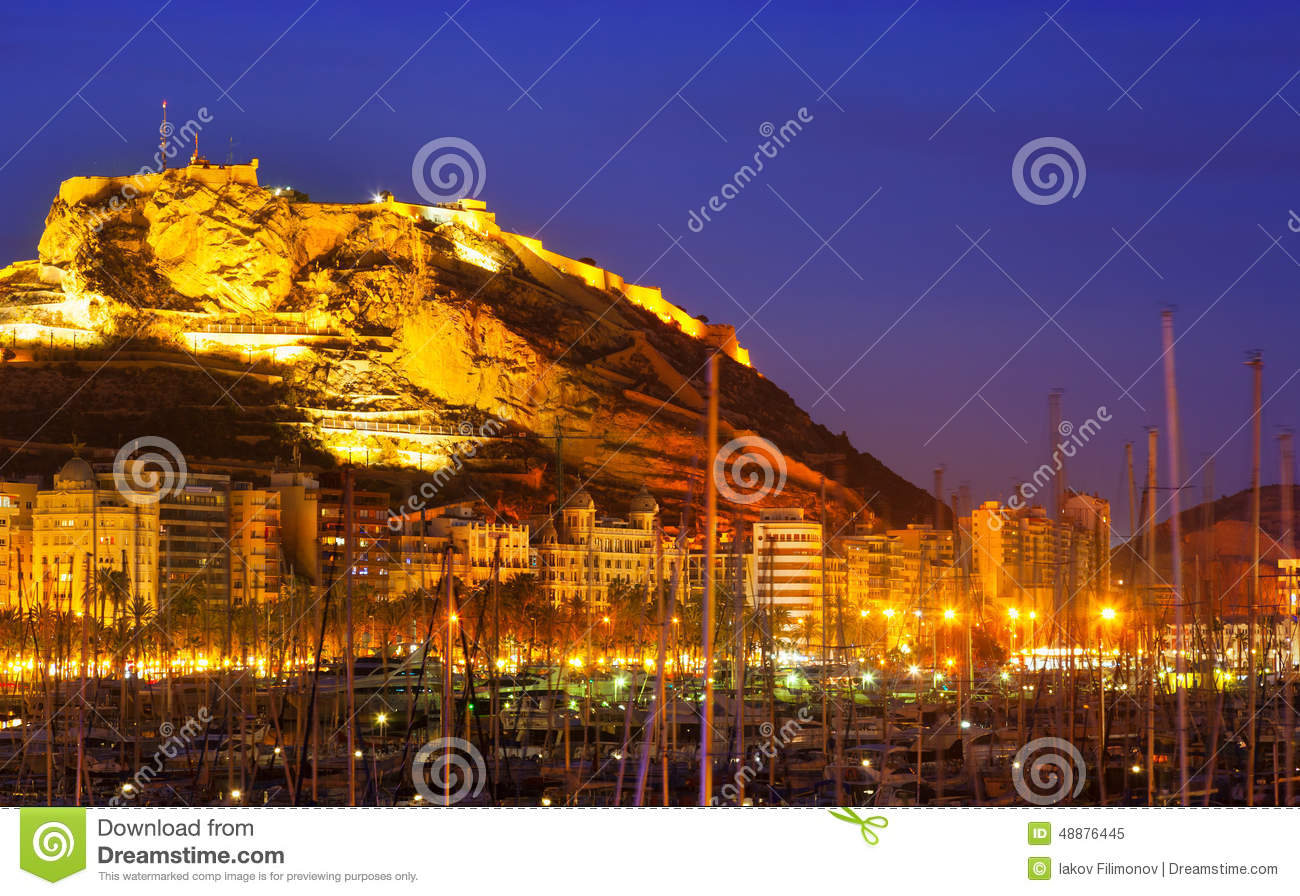 Port with yachts against castle in night alicante spain stock photo image 48876445 - Stock uno alicante ...