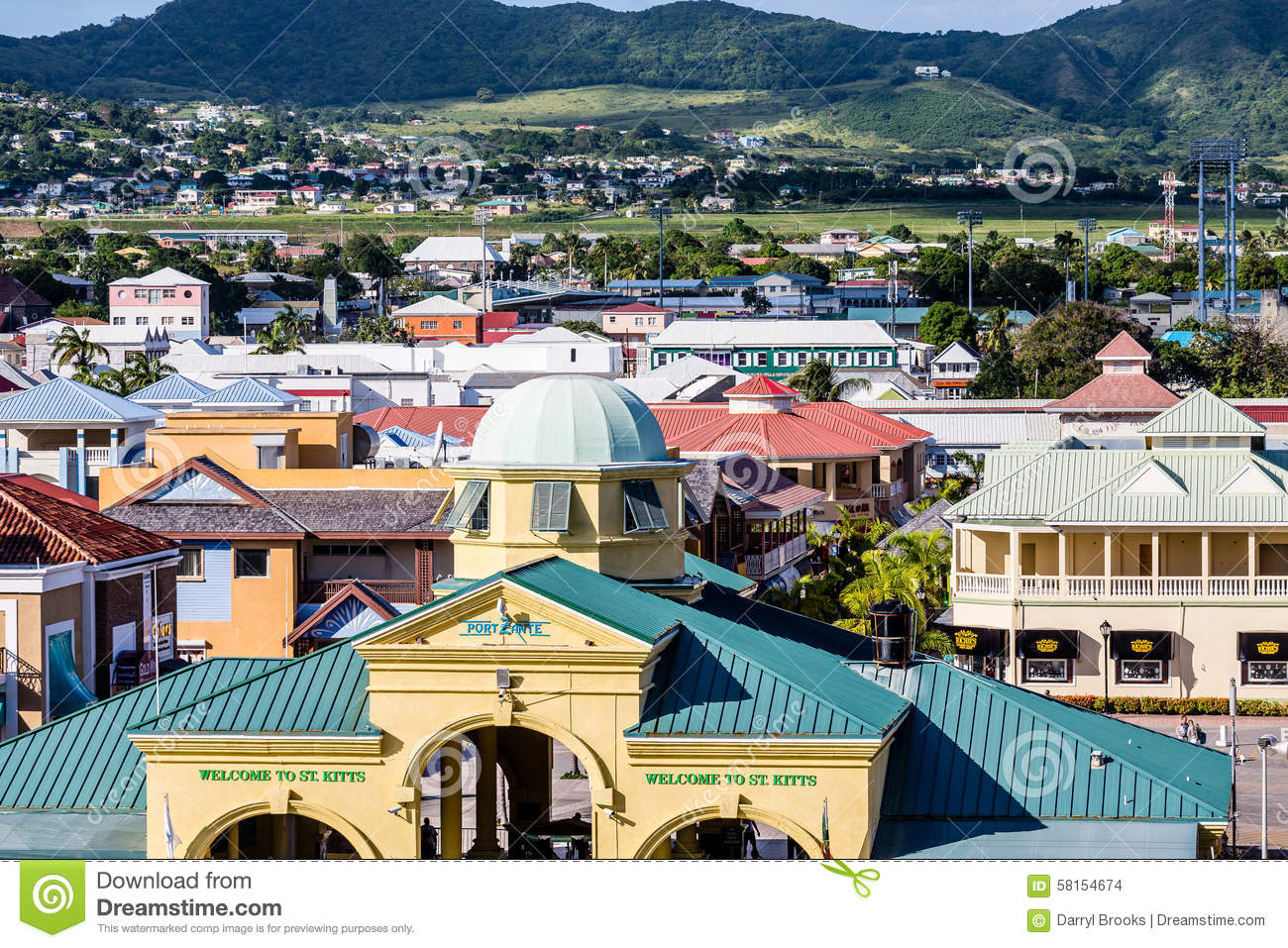 Port zante on st kitts editorial stock image image of green 58154674 for Port zante st kitts