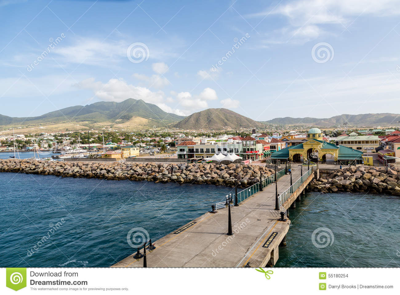 Port zante on st kitts by pier editorial stock image image of coastline boats 55180254 for Port zante st kitts