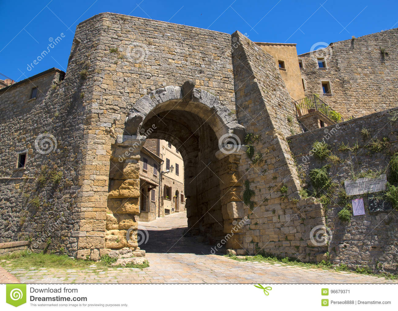 Porta all` Arco, one of city`s gateways, is the most famous Etruscan architectural monument in Volterra