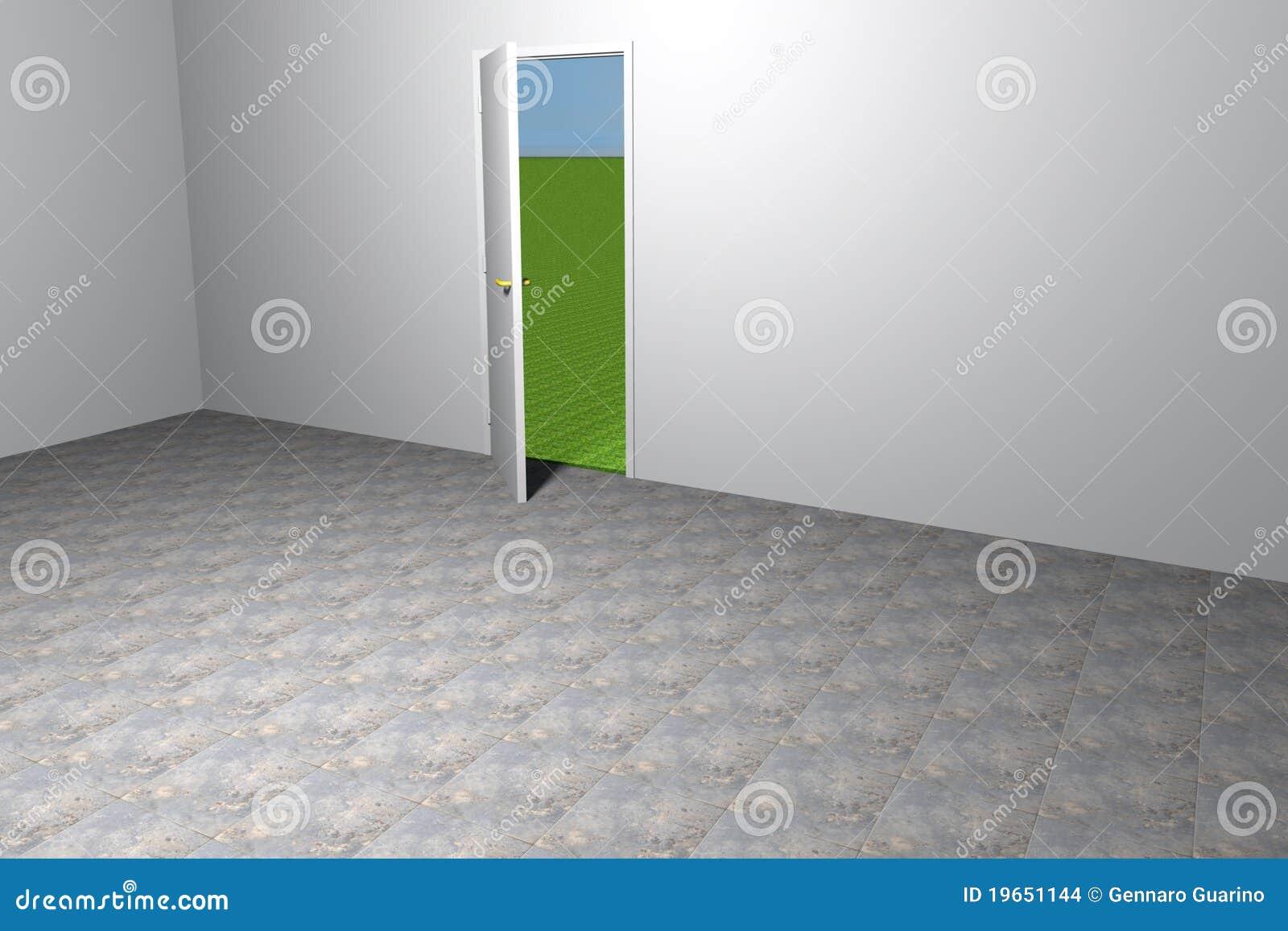 Porta Aperta Nella Stanza Vuota Immagini Stock Immagine