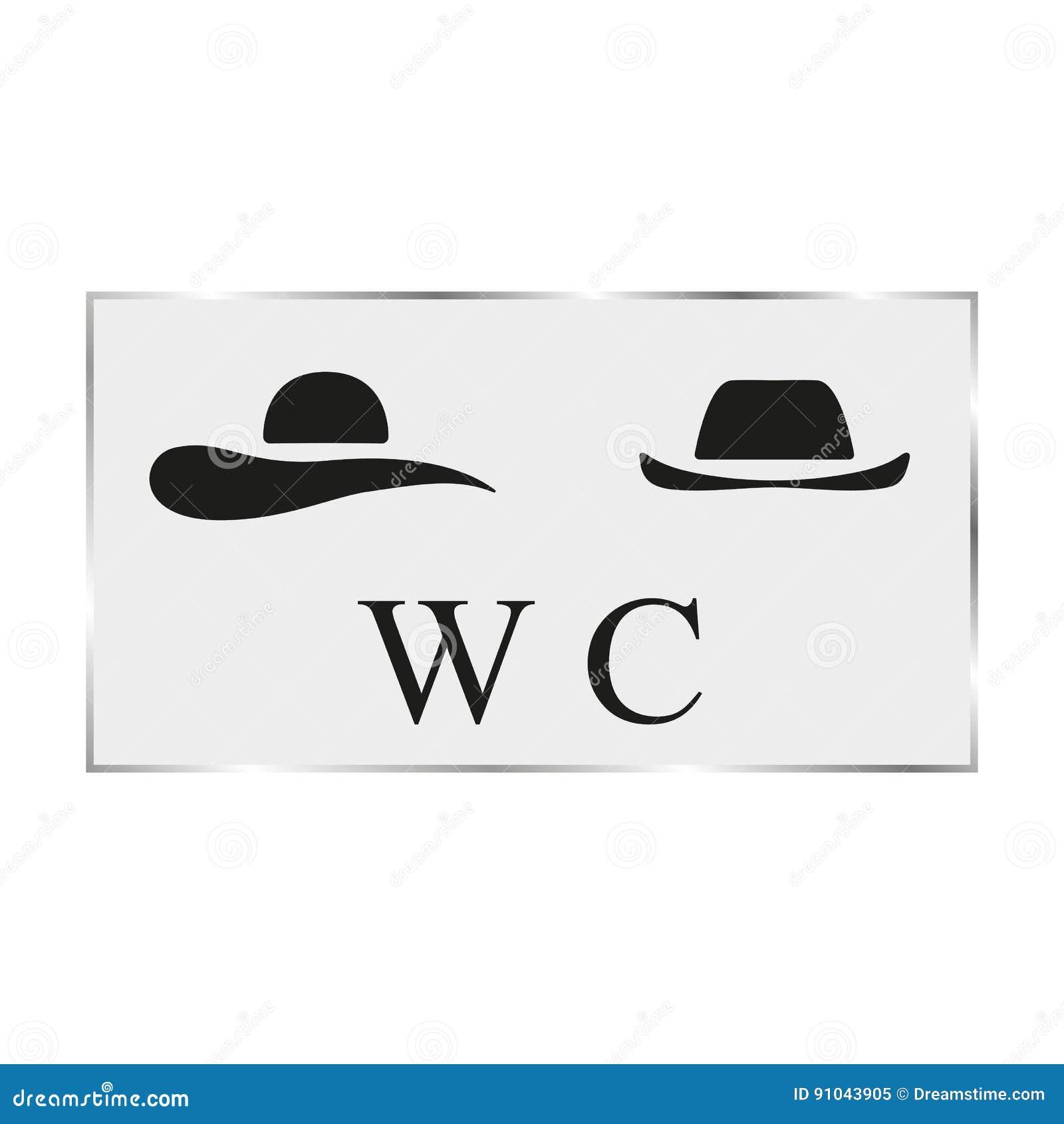 Porta branca do toalete da placa do preto da ilustração do vetor