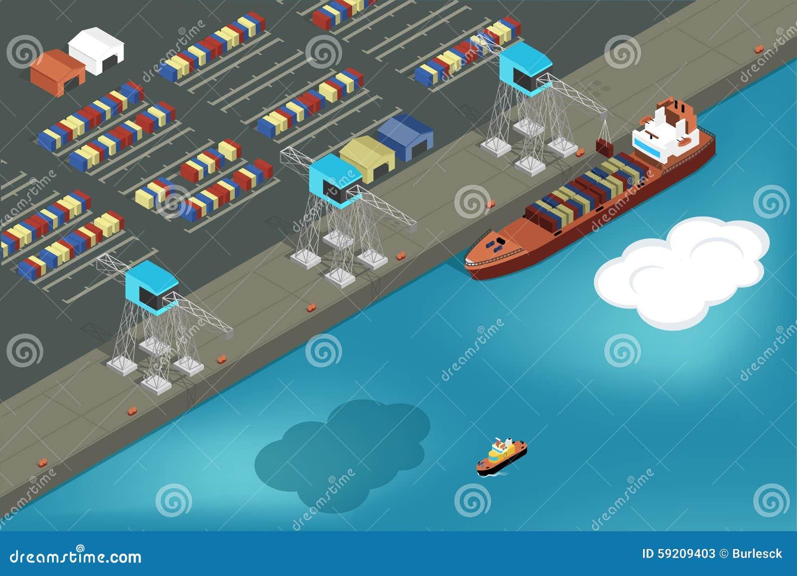 Porta da carga Recipientes comerciais da carga do navio