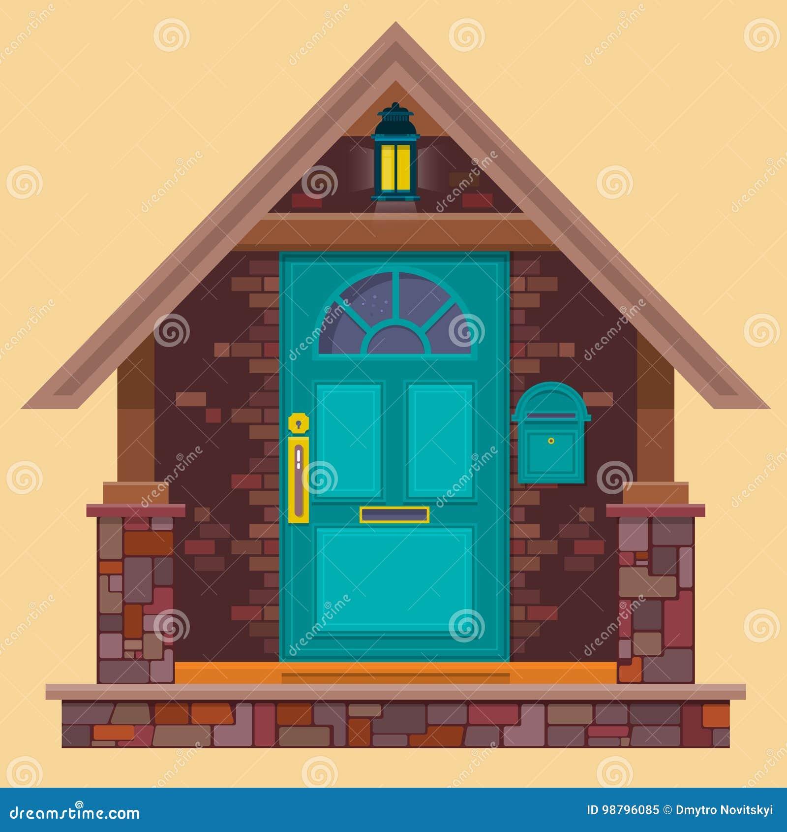 Porta Da Rua De Agua Marinha Na Parede De Tijolo Marrom Com Lanterna Ilustracao Da Casa Dos Desenhos Animados Elemento Da Constru Ilustracao Do Vetor Ilustracao De Residencial Parede 98796085