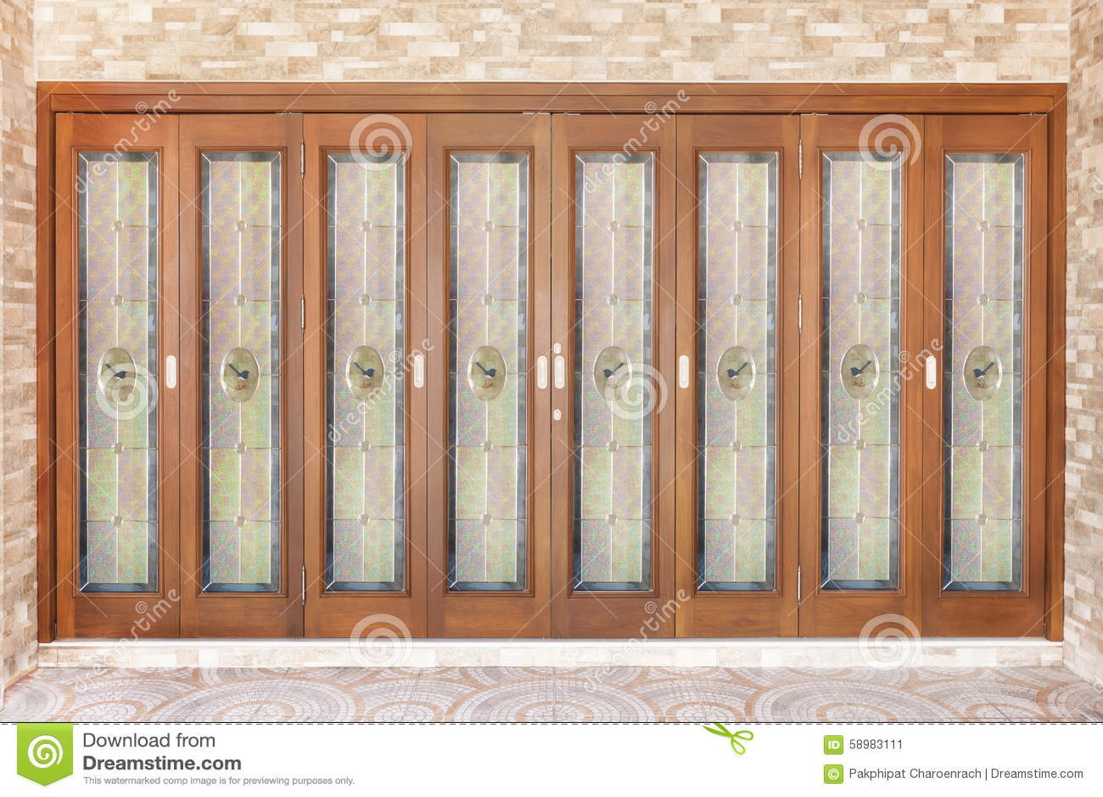 Porta de madeira da teca com espelho - fundo