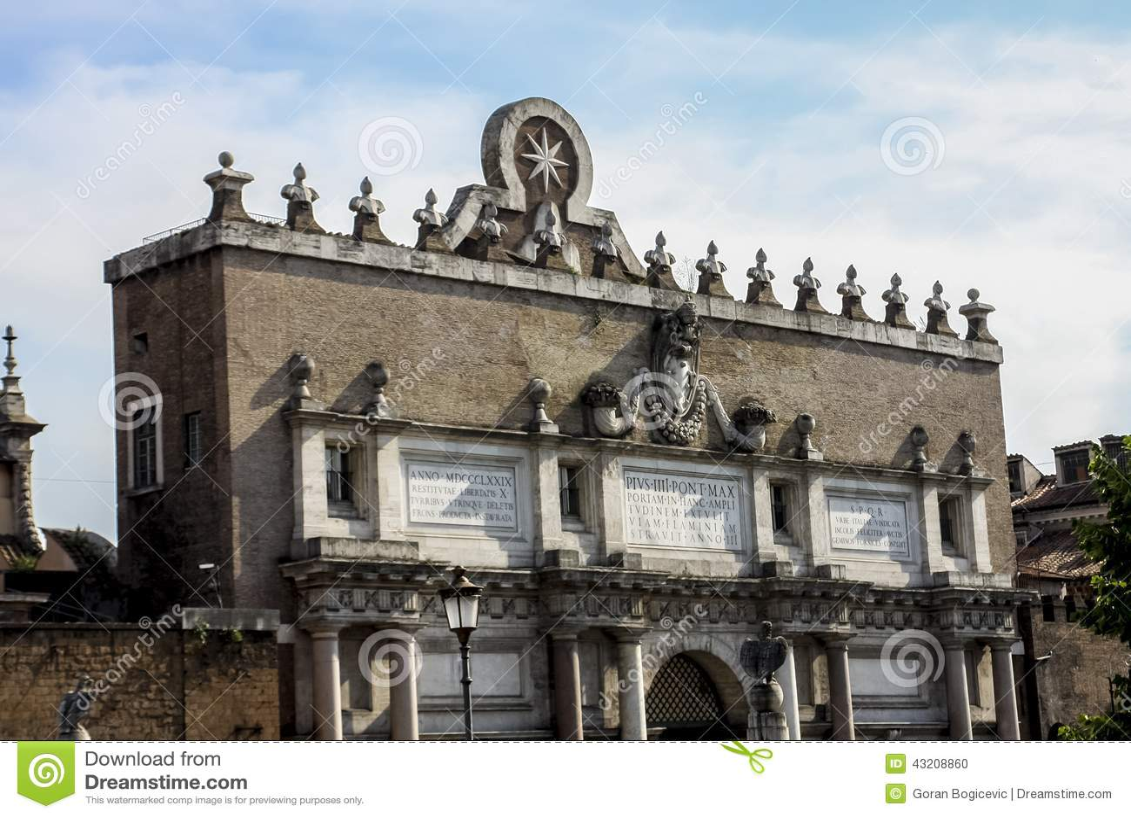 Download Porta del Popolo i Rome arkivfoto. Bild av destination - 43208860