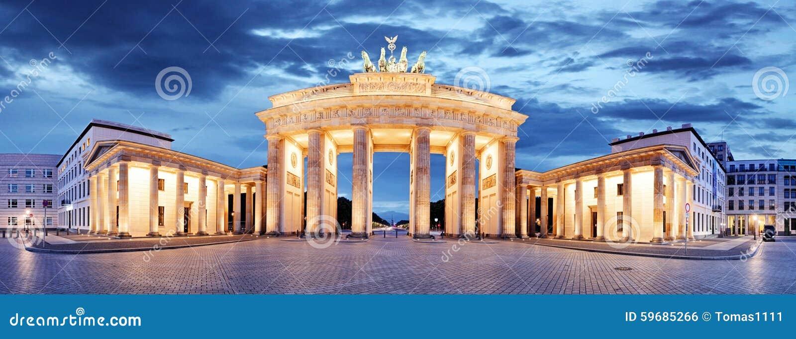 porta di brandeburgo berlino germania panorama fotografia stock immagine 59685266. Black Bedroom Furniture Sets. Home Design Ideas