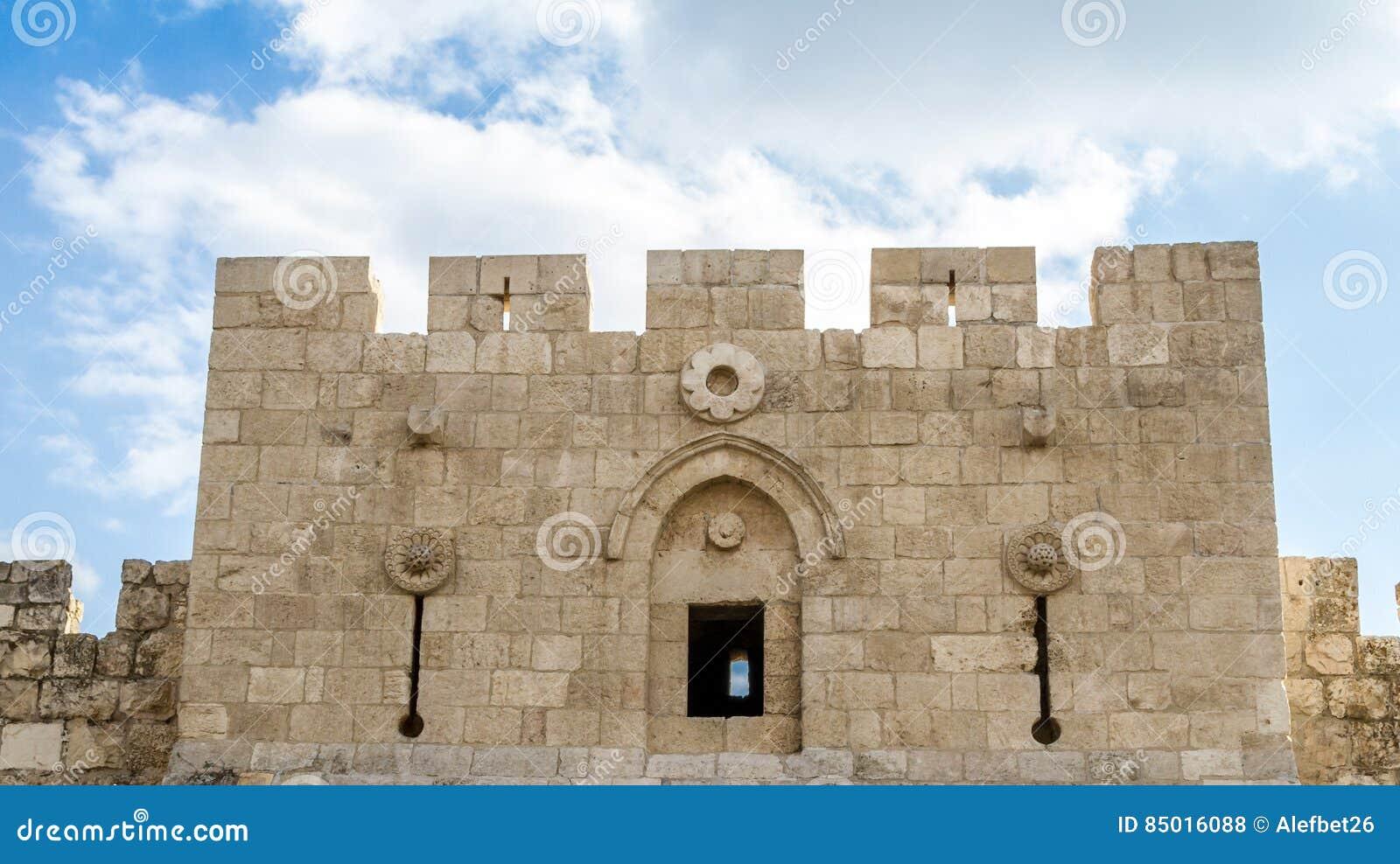 Porta do ` s de Herod, porta das flores no Jerusalém, Israel