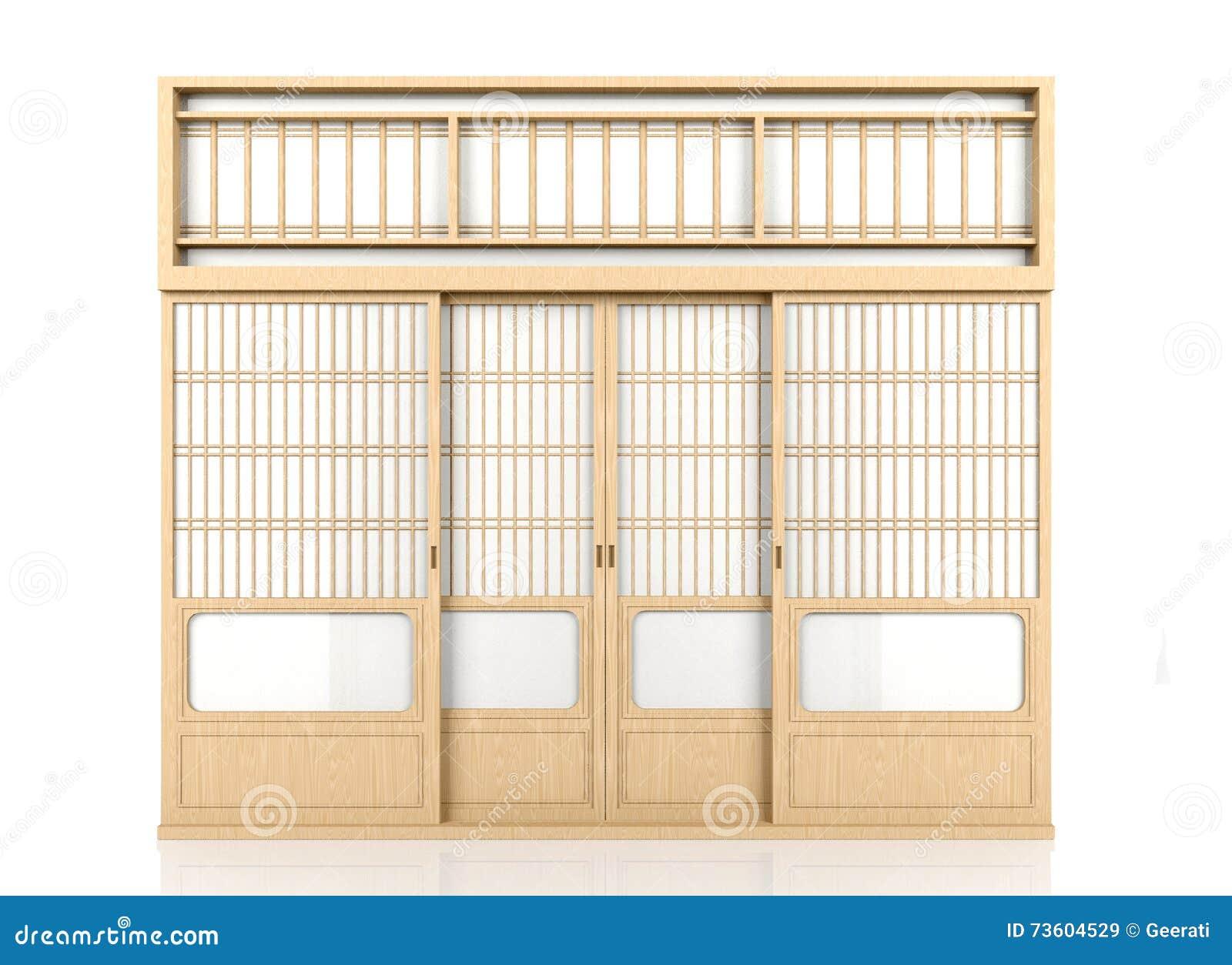 Porta giapponese di legno dello shoji isolata su fondo for Legno giapponese