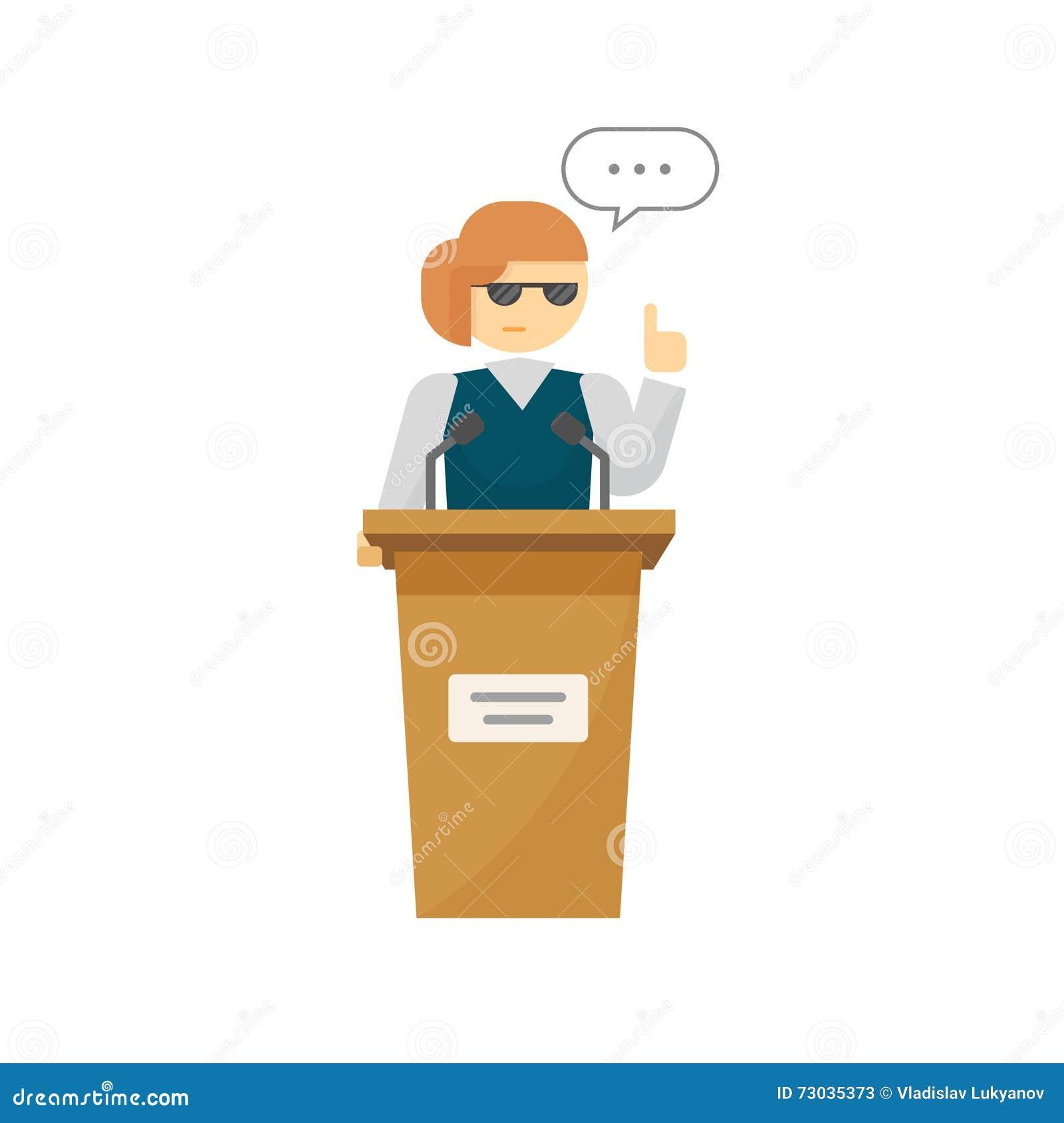 Porta-voz no vetor do pódio, mulher dos desenhos animados perto do discurso da tribuna