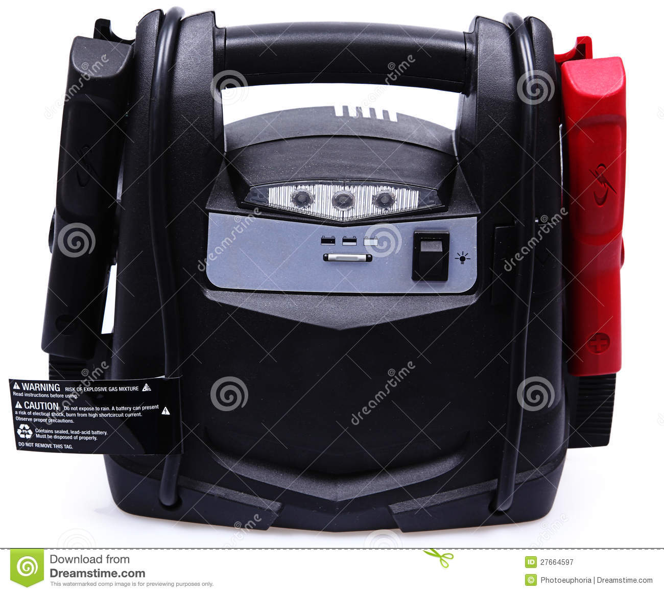 Portable Generator With Jumper Cables : Portable battery pack and jumper cables royalty free stock